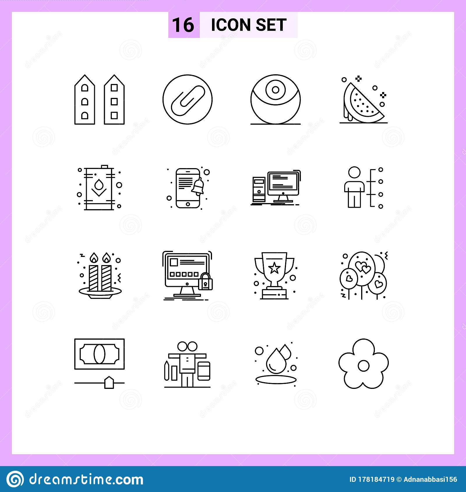 Modern Set Of 16 Outlines And Symbols Such As Electric