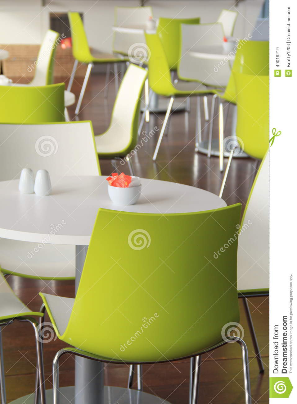 Modern restaurant table setting - Royalty Free Stock Photo Download Modern Setting Of Bright Green Chairs And Tables At Restaurant