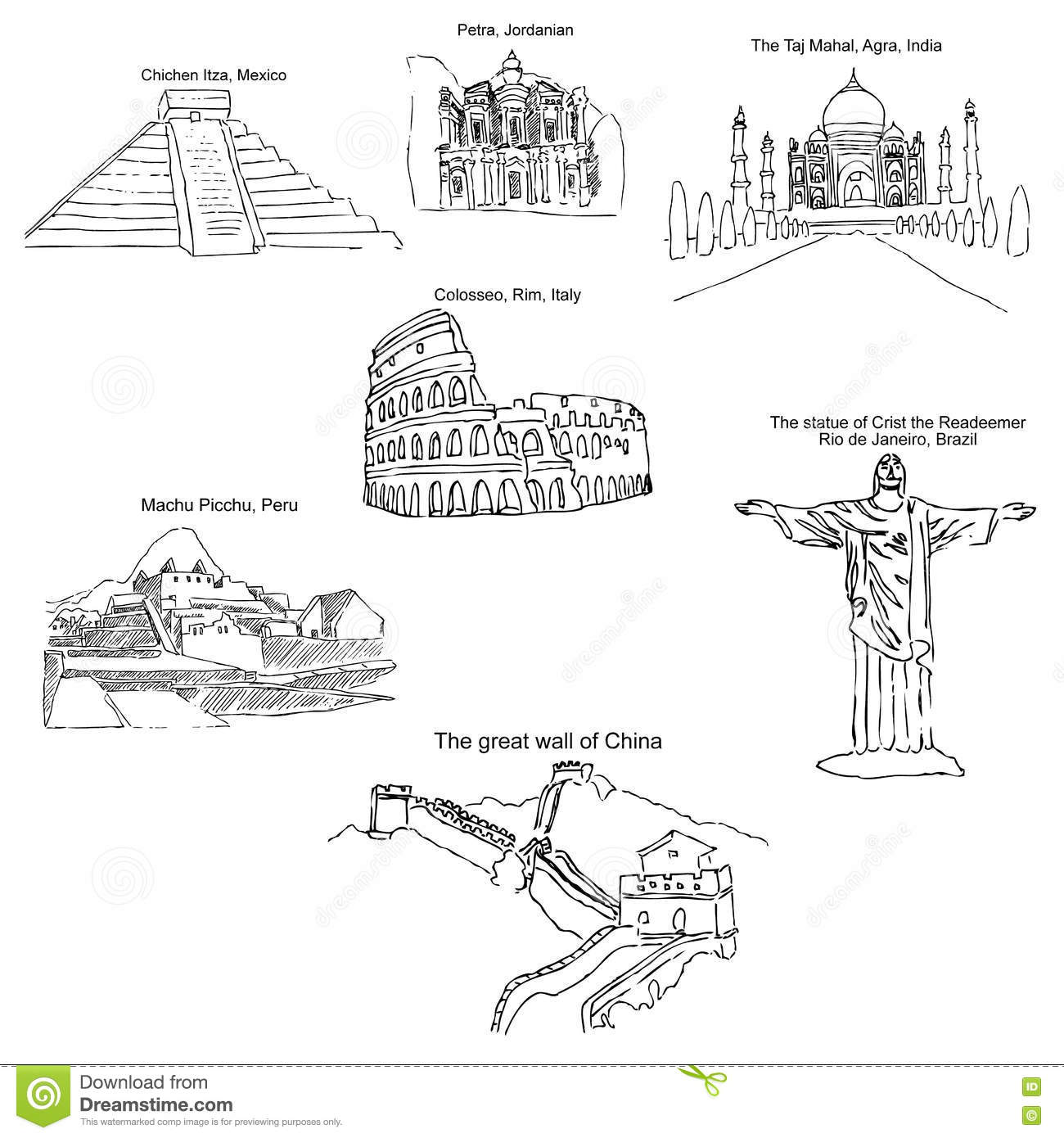 The modern seven wonders of the world sketch pencil drawing by hand vector