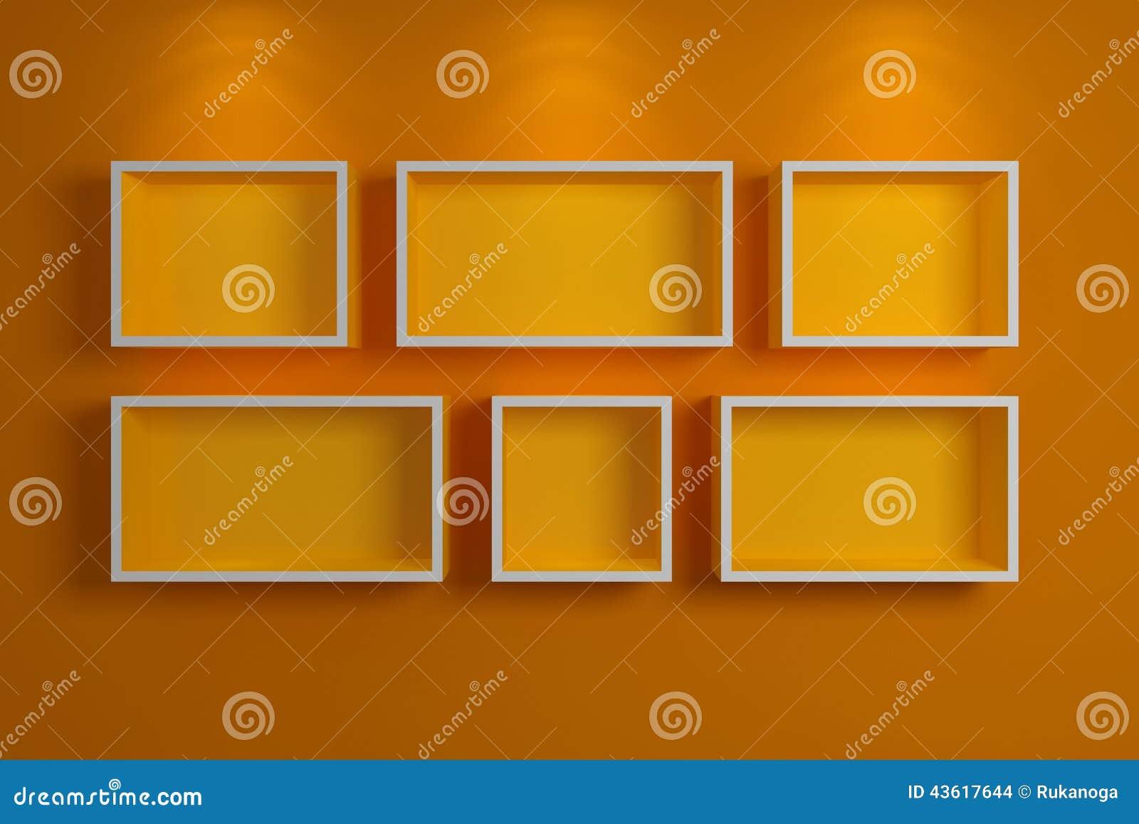 Modern shelf on a wall, stock illustration. Illustration of ...