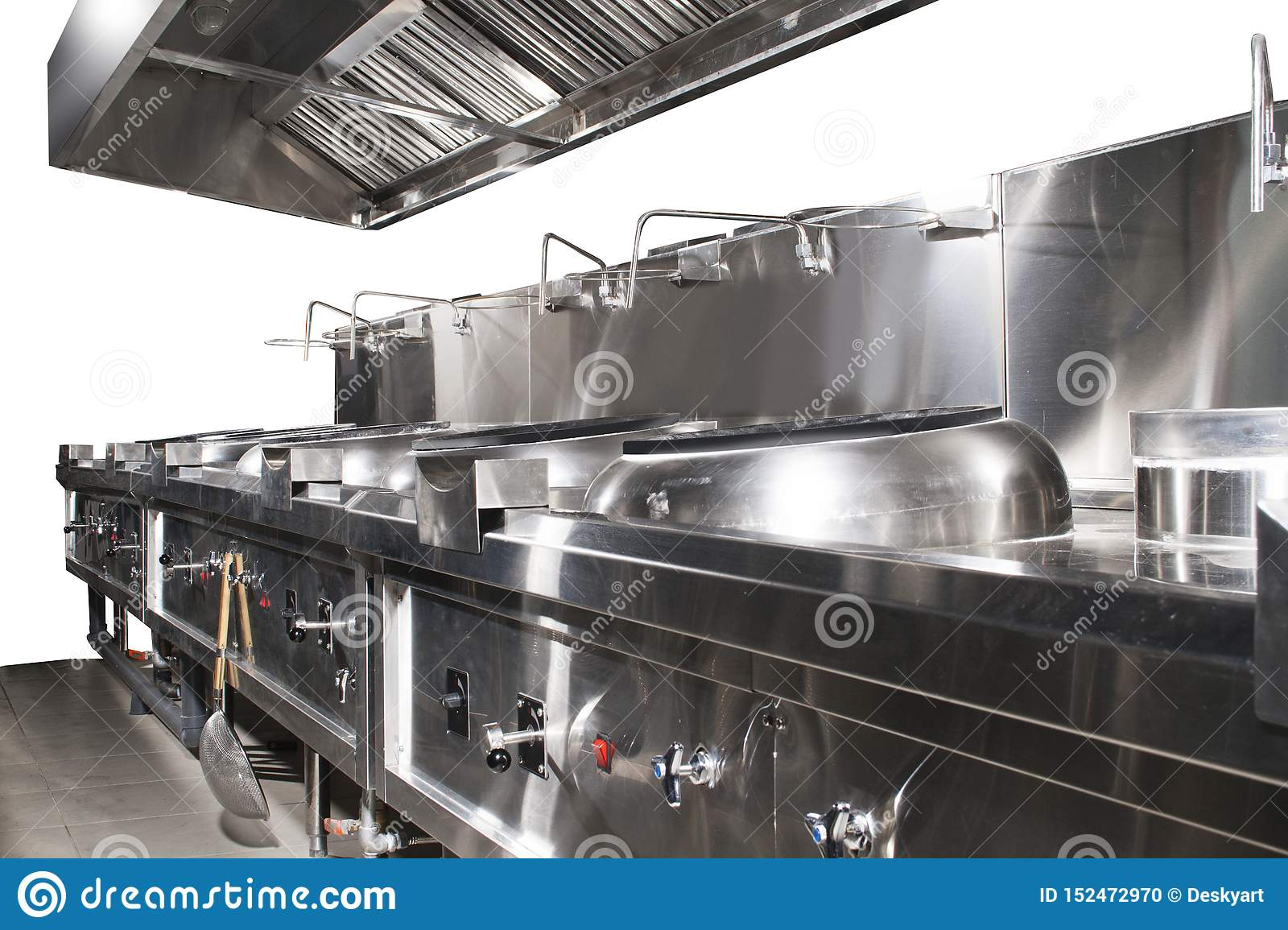 Modern Shiny And Clean Kitchen With Stainless Steel Kitchenware Stove Exhaust And Equipment For Restaurant Scale Cooking Stock Photo Image Of Healthy Sink 152472970