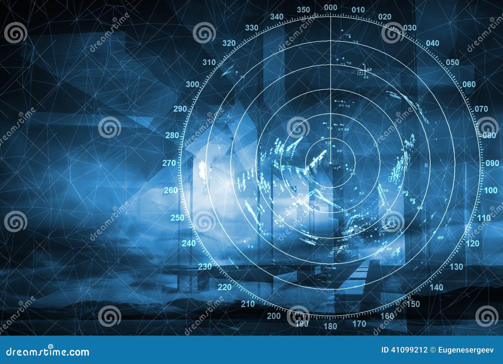 Modern ship radar digital screen, abstract backgro