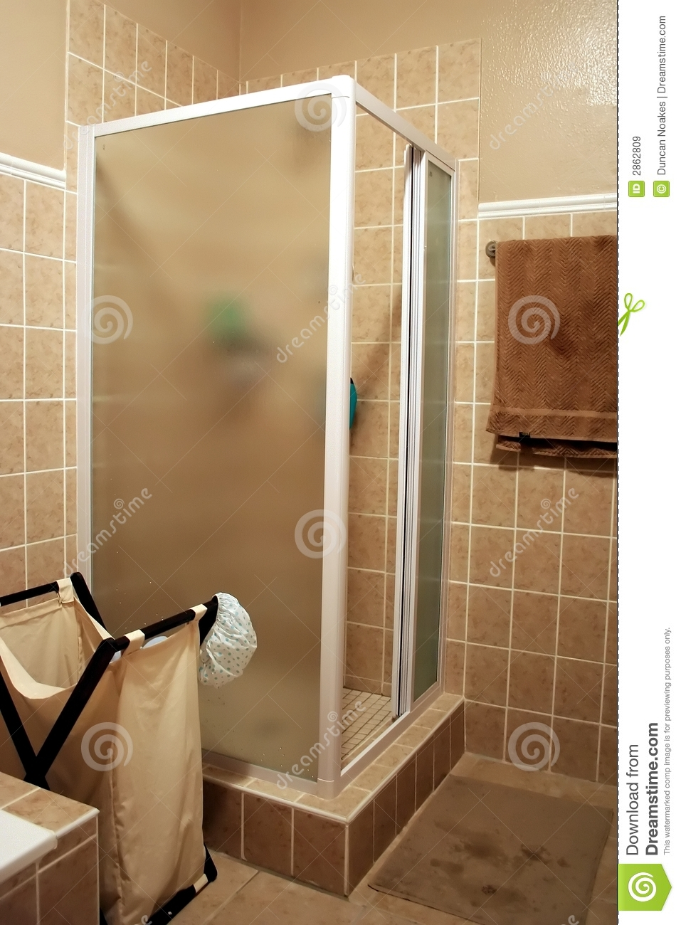 Modern Shower Cubicle Stock Image Image Of Tiled Floor