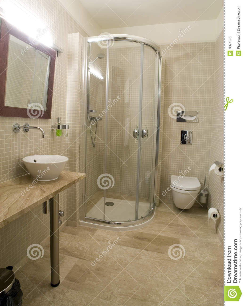 Modern shower and toilet stock image image of for Photo toilette moderne