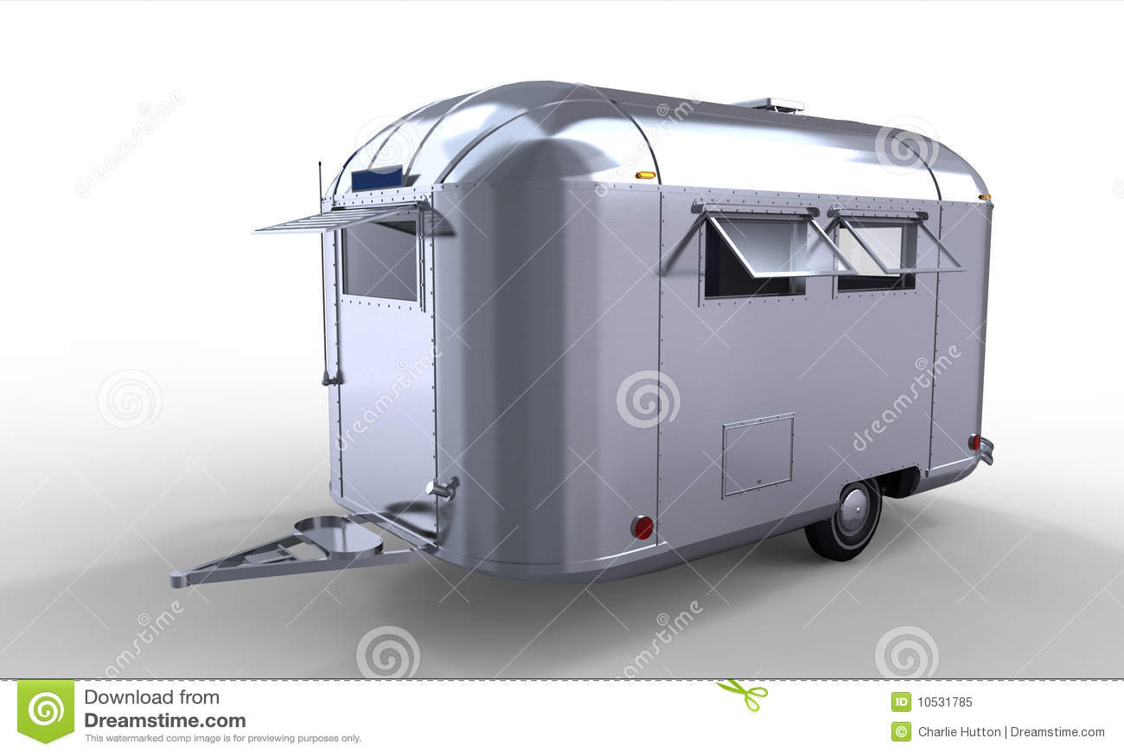 Modern Silver Caravan Trailer Royalty Free Stock Photo