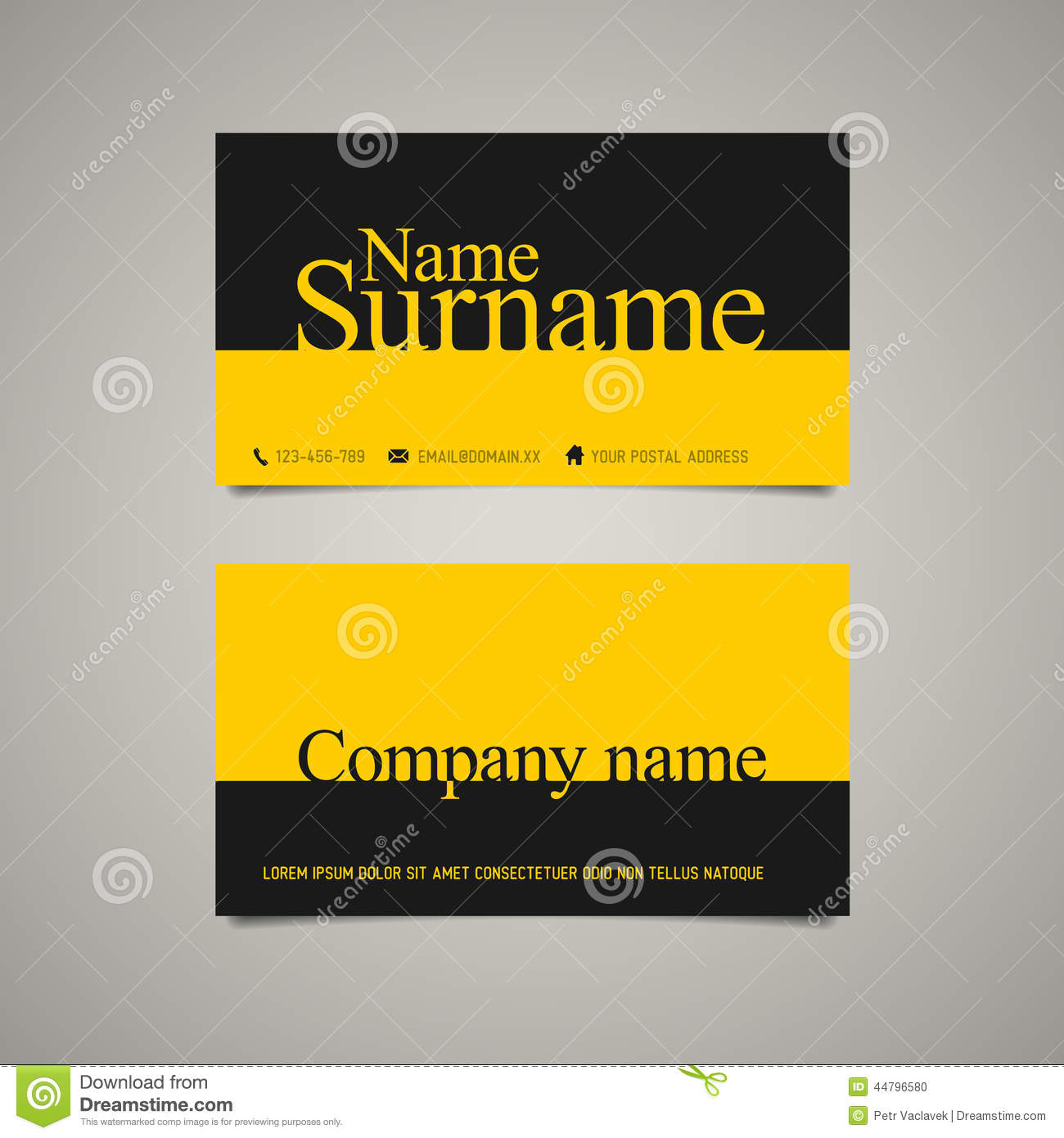 Modern Simple Business Card Template With Big Name Stock Vector ...