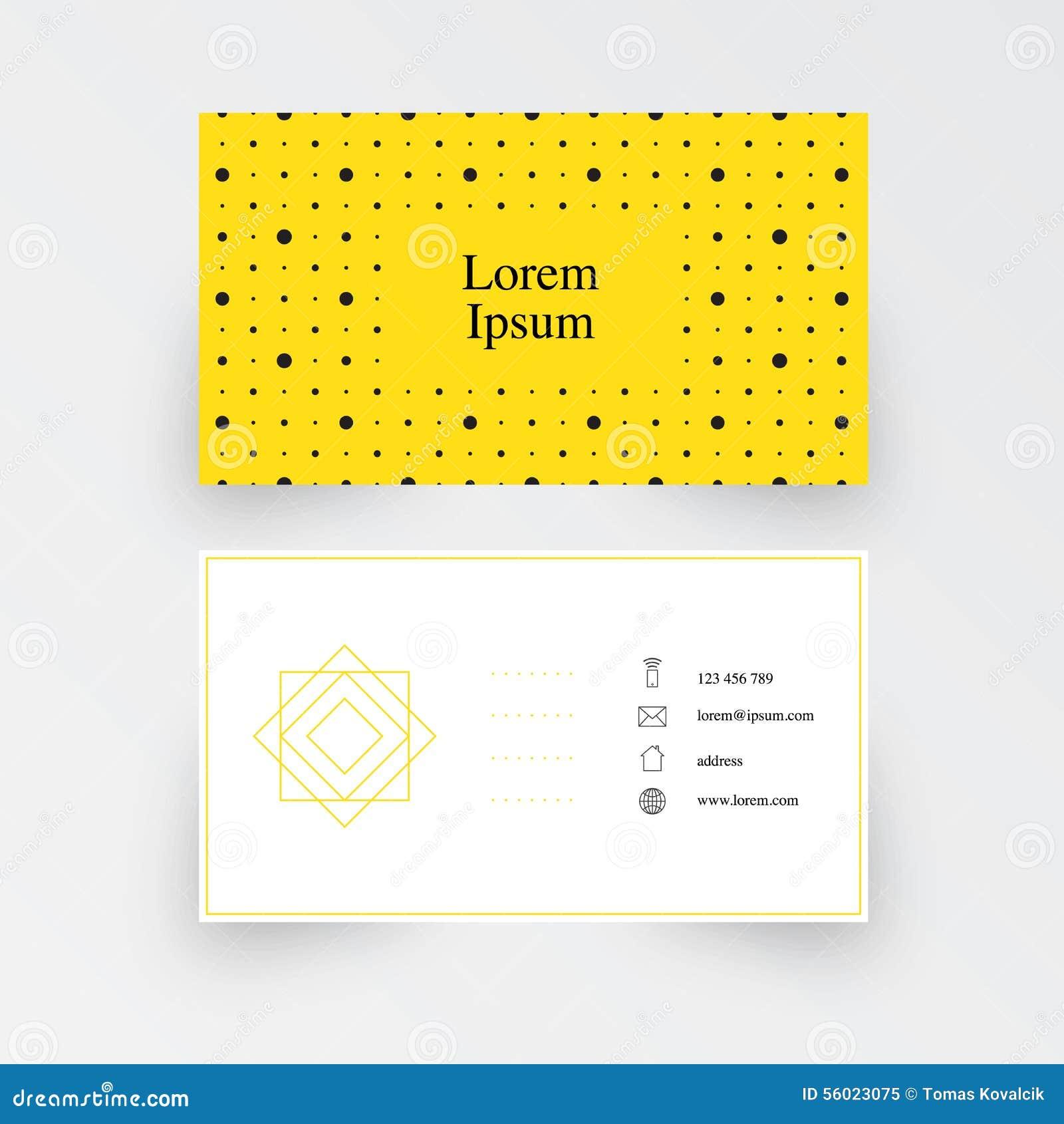 Modern Simple Business Card Template, Geometric Pattern, Yellow ...