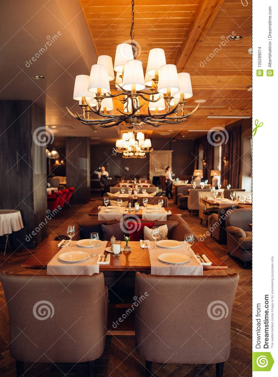 Interior Of A Restaurant Vintage Style Wooden Classical Furniture Stock Photo Image Of Cafe Building 105289014