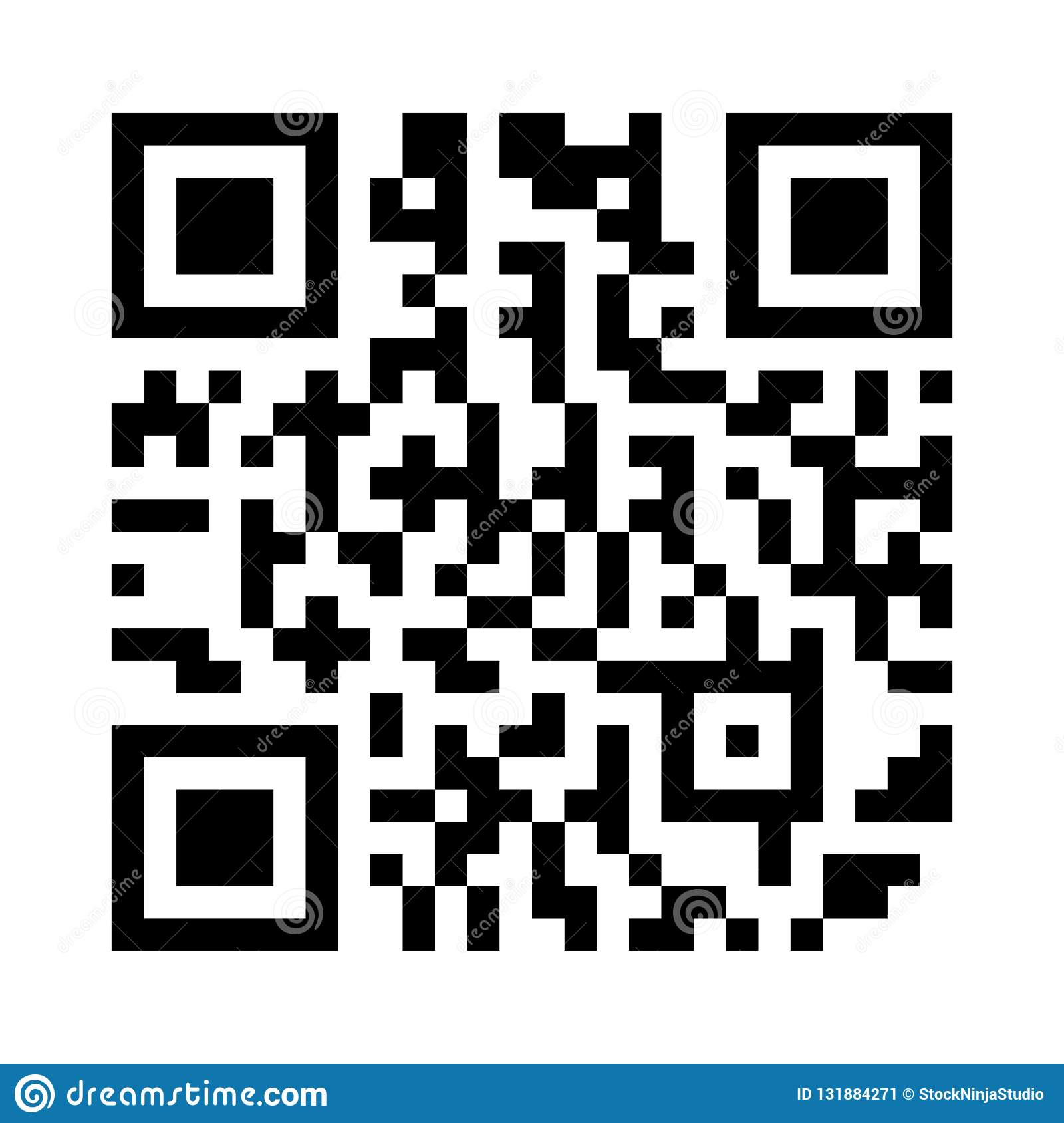 Modern Simple Flat QR Code Sign In Vector Illustration