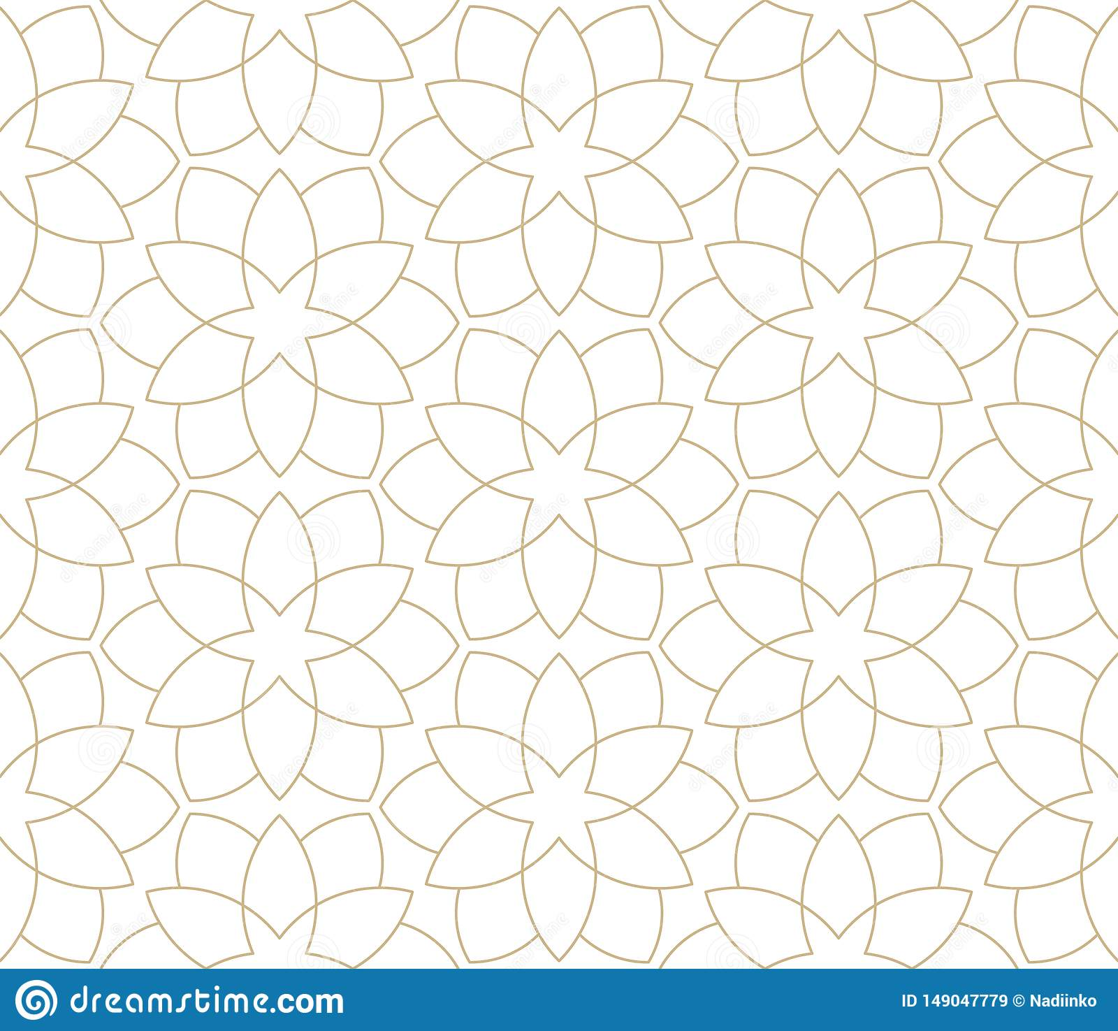 Modern Simple Geometric Vector Seamless Pattern With Gold Flowers