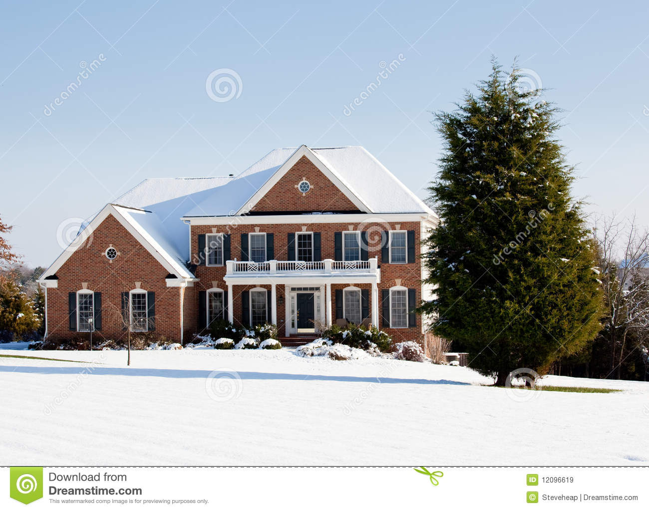 Modern single family home in snow royalty free stock for Modern single family homes