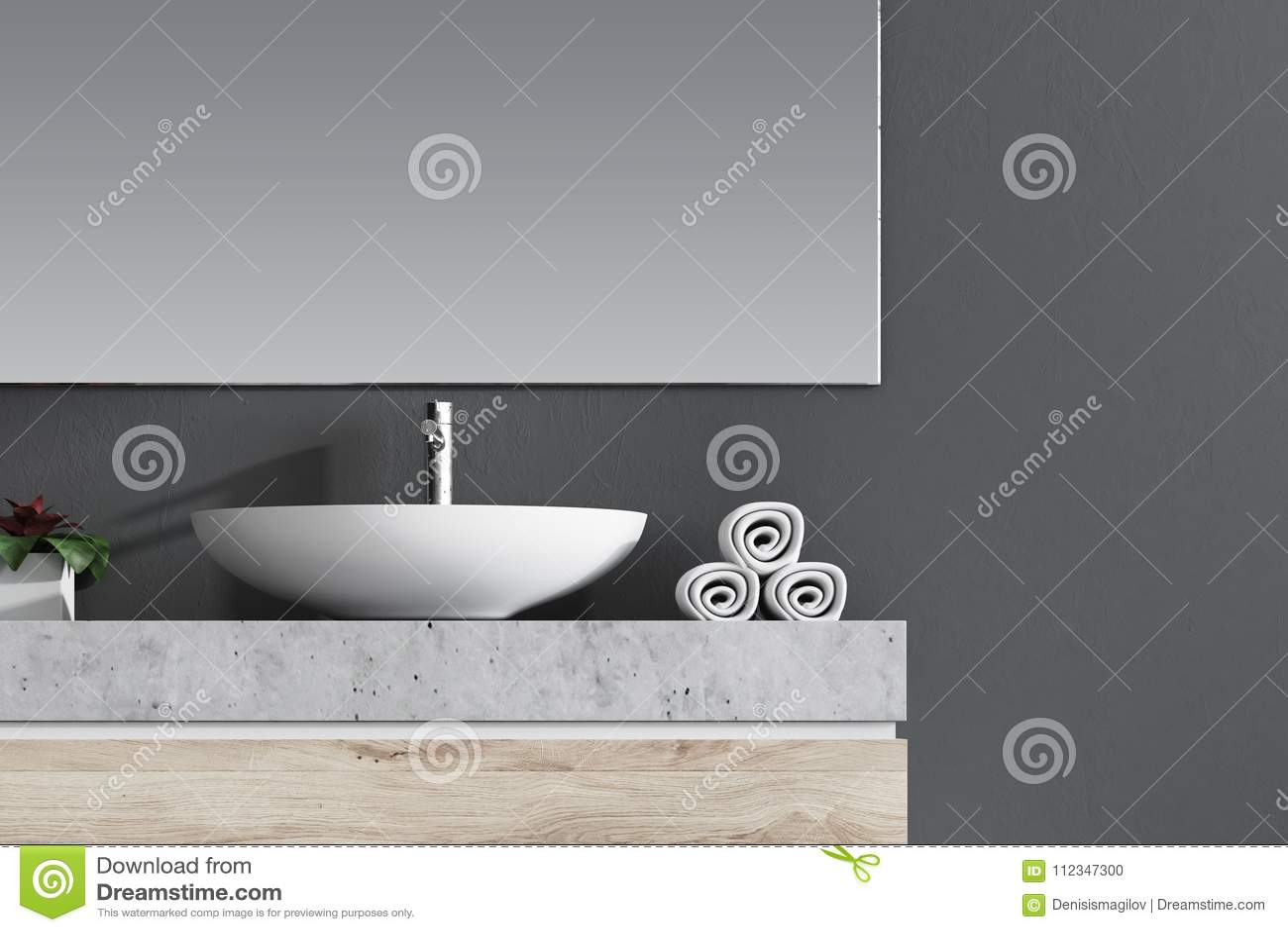 White sink in a gray bathroom stock illustration - Large horizontal bathroom mirrors ...