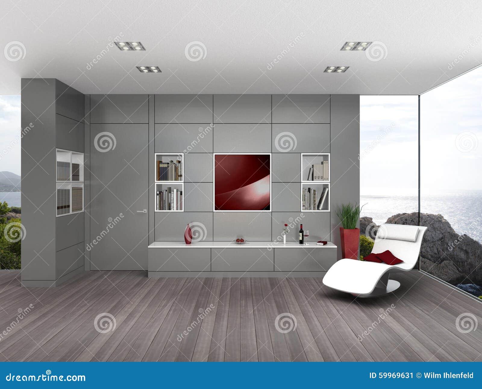 Modern sjösidavardagsrum med väggpanel stock illustrationer   bild ...