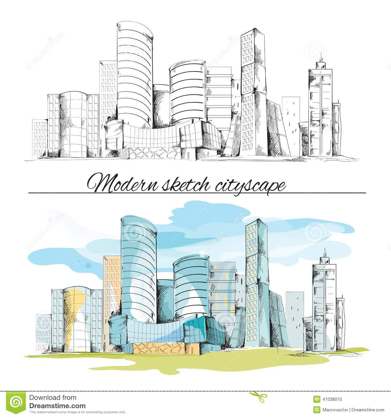 Modern sketch buildings cityscape stock vector image for Online architecture design services