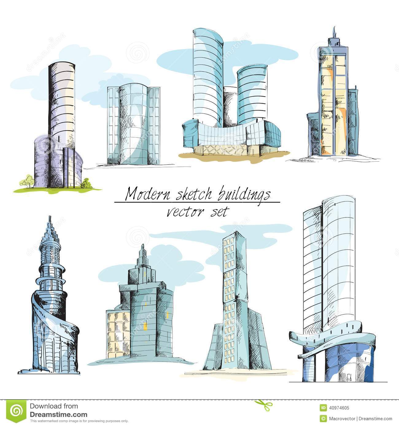 Architectural Building Elements : Modern sketch buildings colored stock vector image