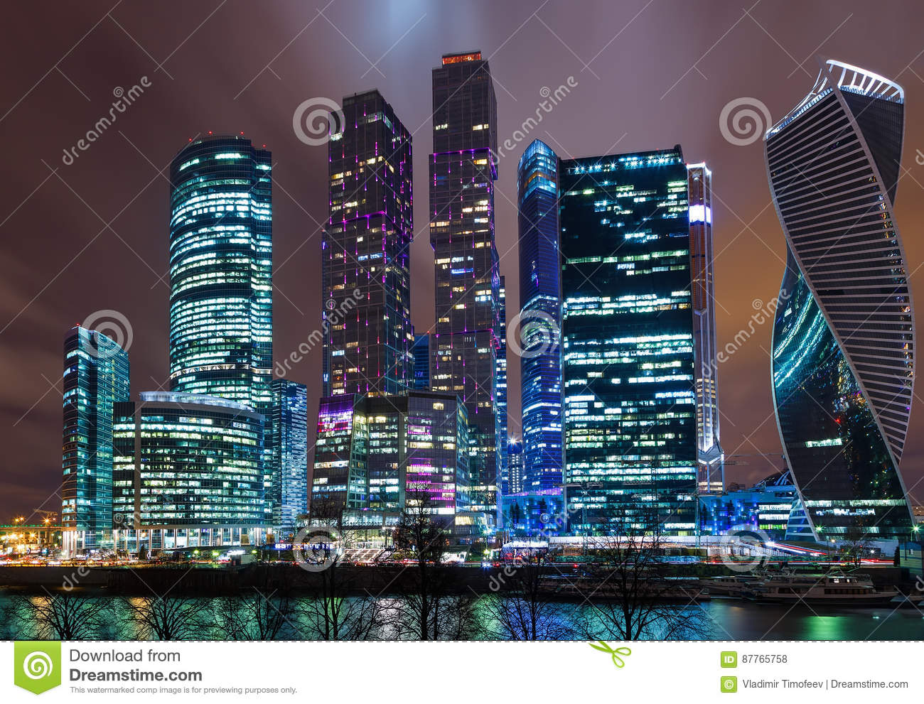 Modern skyscrapers in Moscow-city downtown Federation tower, Mercury tower etc. , Moscow, Russia - urban background