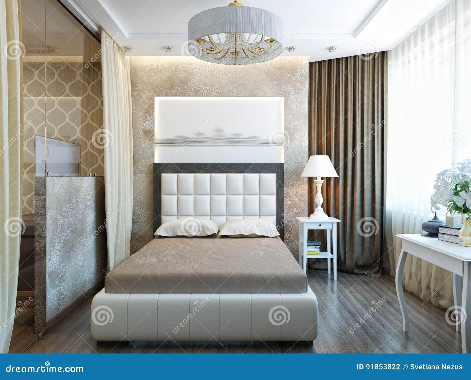 Design Slaapkamer Meubilair : Modern slaapkamer binnenlands ontwerp met wit meubilair stock