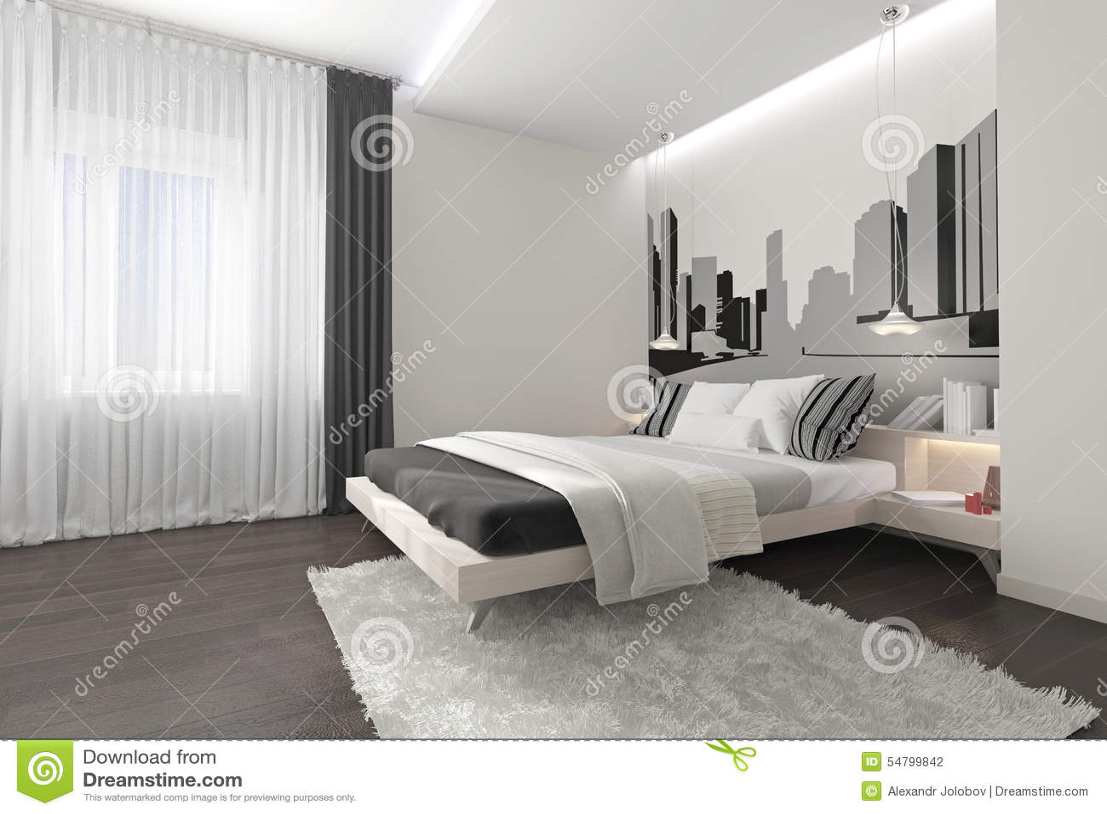 Bed Gordijn 9 : Modern slaapkamerbinnenland met donkere gordijnen stock foto