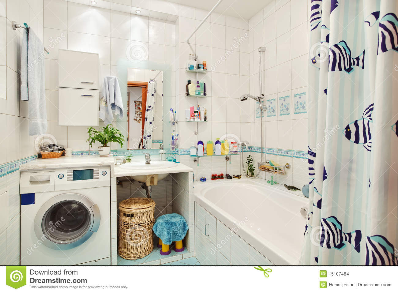 Modern small bathroom in blue stock images image 15107484