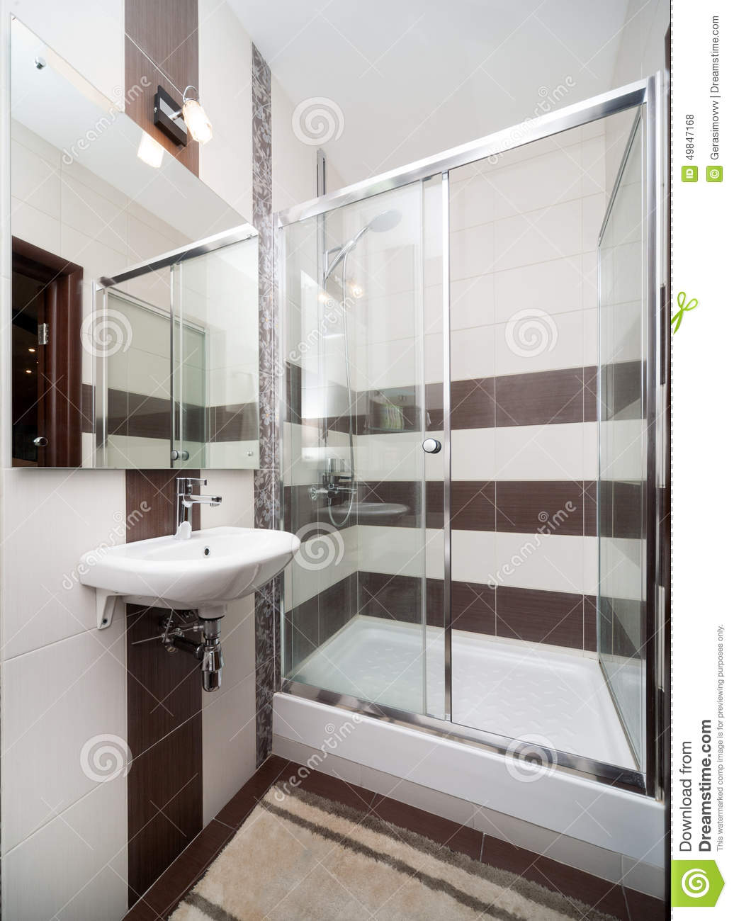 Small bathroom with modern white shower stock image for Small white modern bathroom