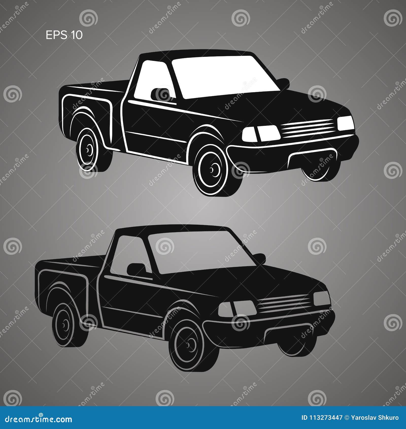 Modern Small Pickup Truck Vector Illustration Icon  Stock