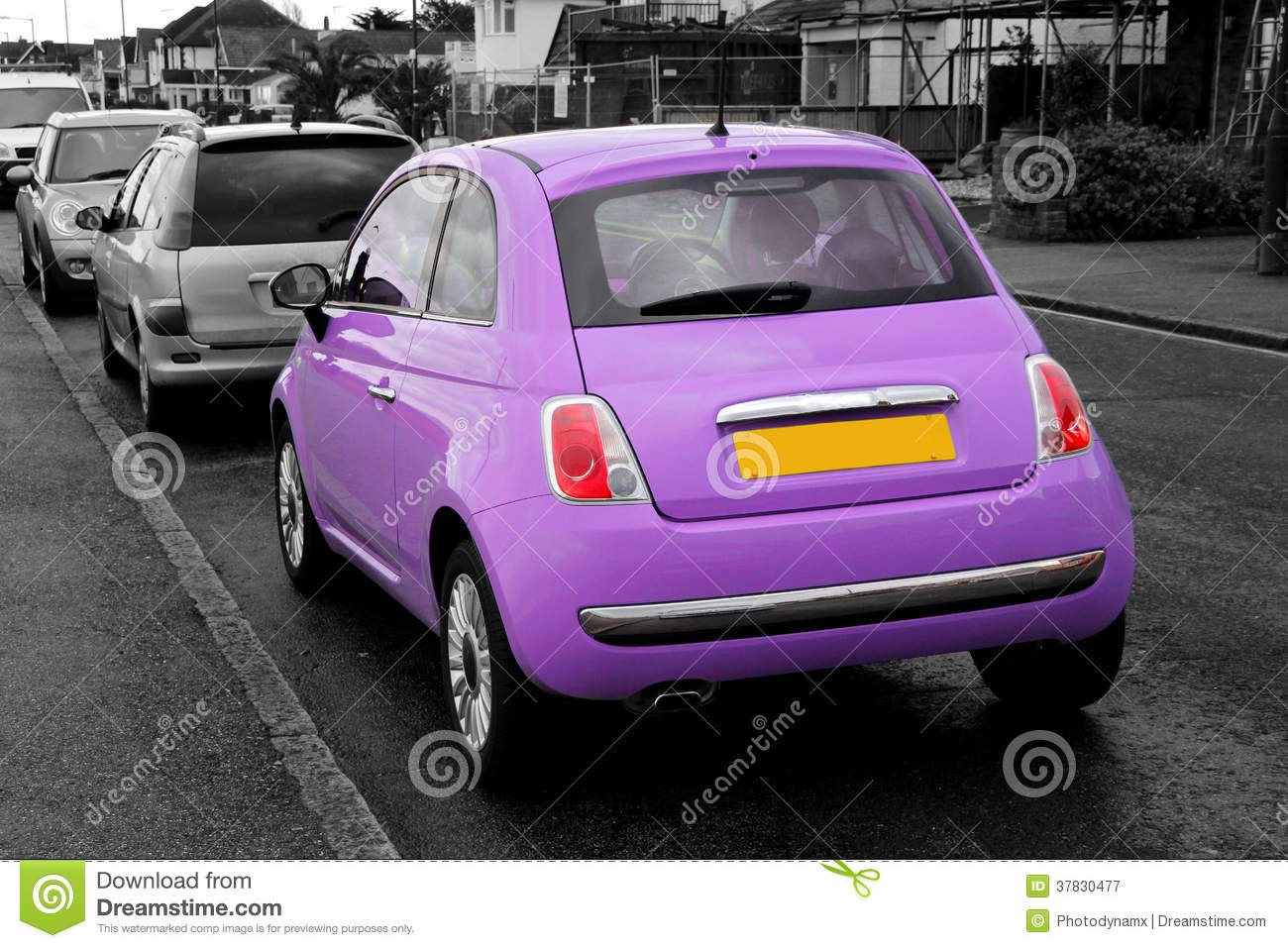 modern small purple fiat 500 stock image image 37830477. Black Bedroom Furniture Sets. Home Design Ideas