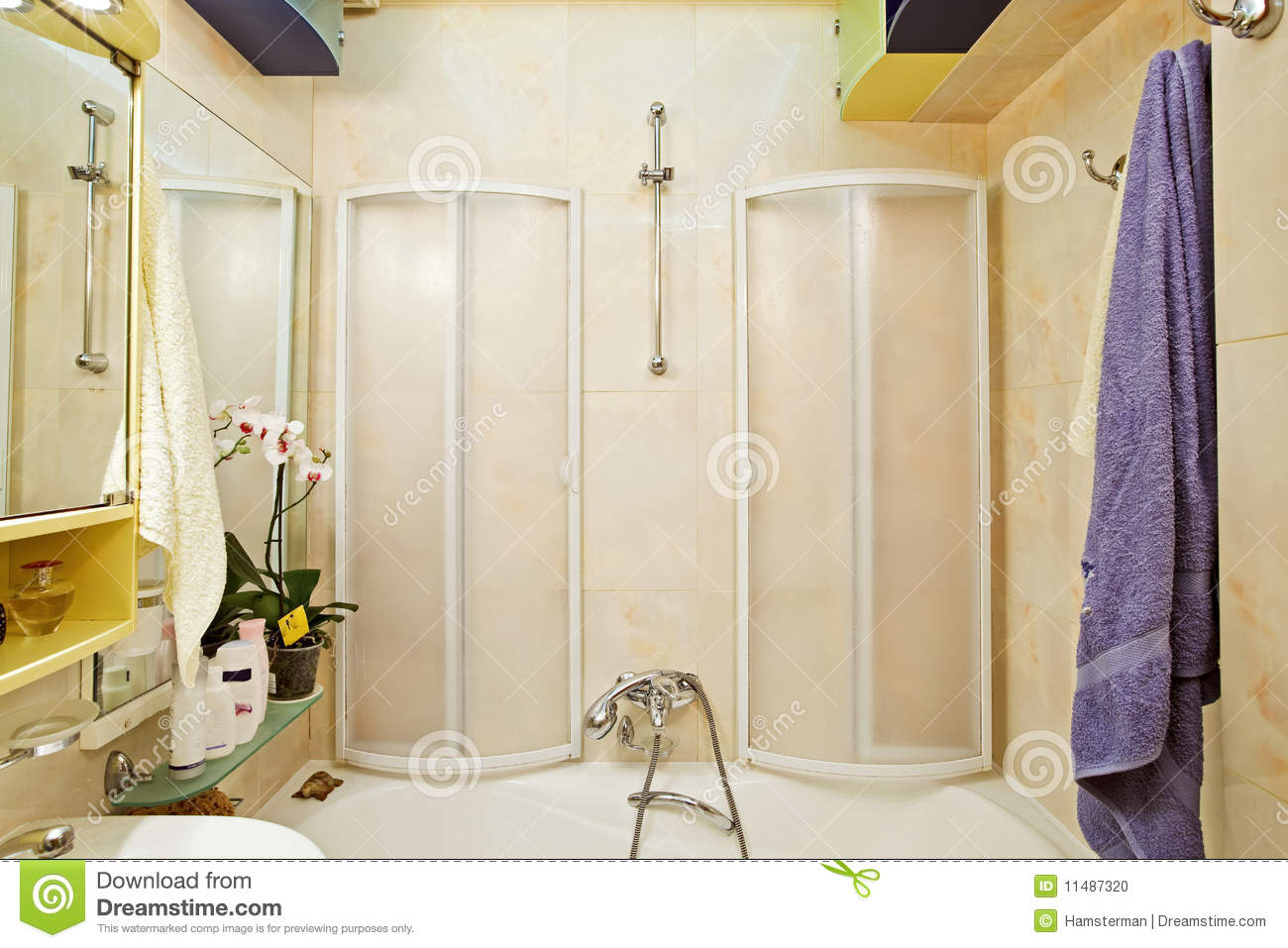 Modern Small Shower-bath With Shower-cubicle Stock Photo - Image of ...