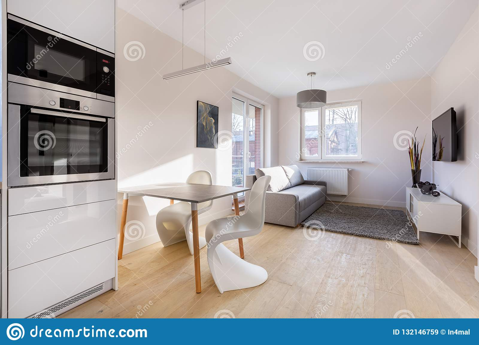 Excellent Modern And Small Studio Flat Stock Image Image Of Ibusinesslaw Wood Chair Design Ideas Ibusinesslaworg
