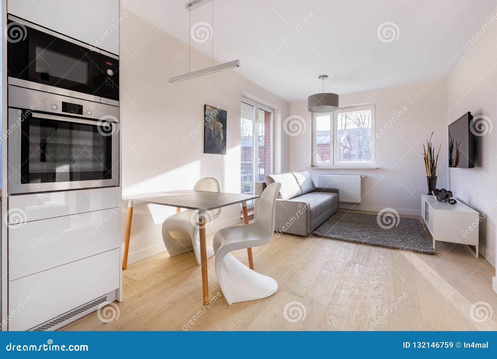 Modern And Small Studio Flat Stock Image - Image of ...