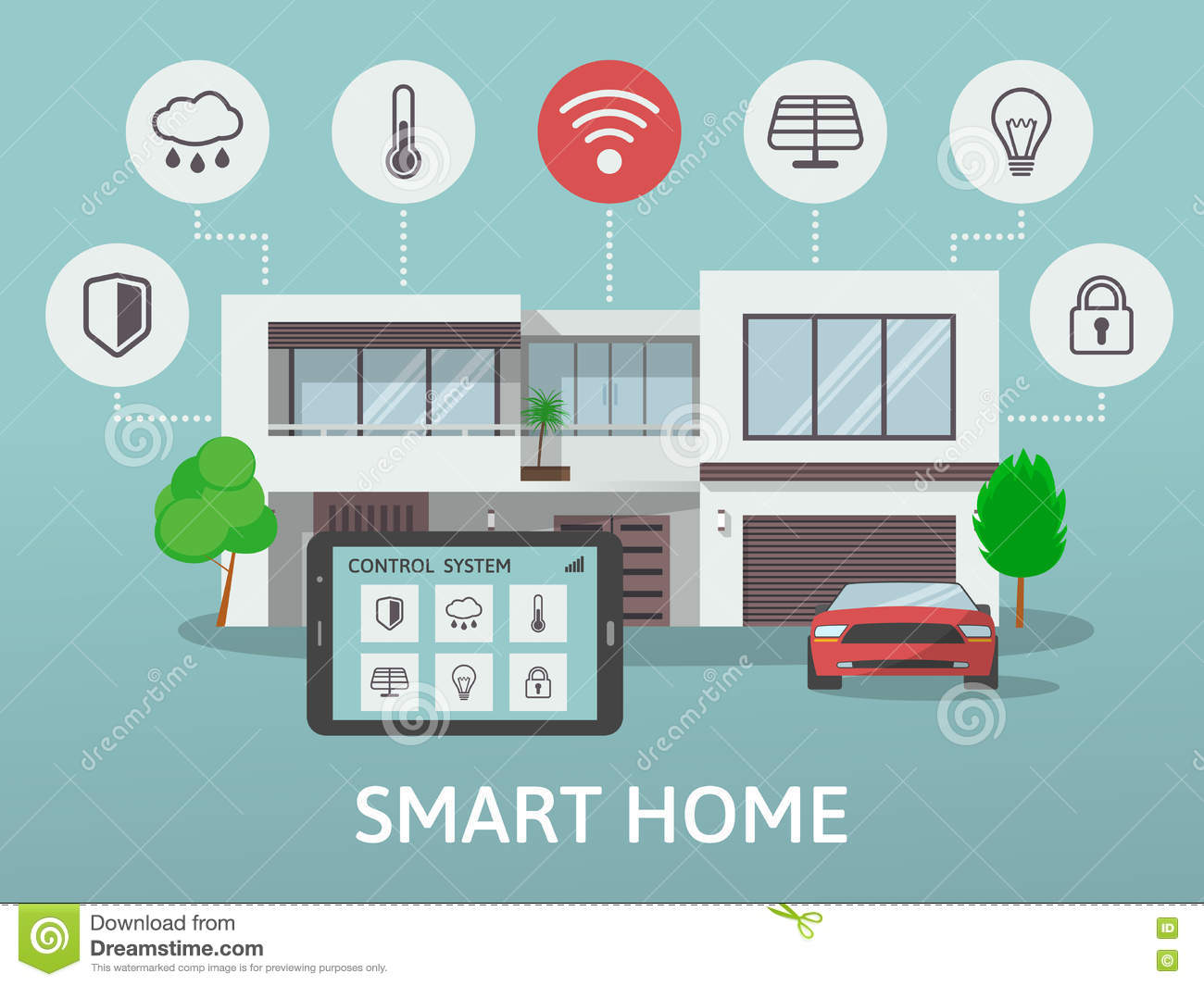 Modern Smart Home. Flat Design Style Concept, Technology System With  Centralized Control. Vector