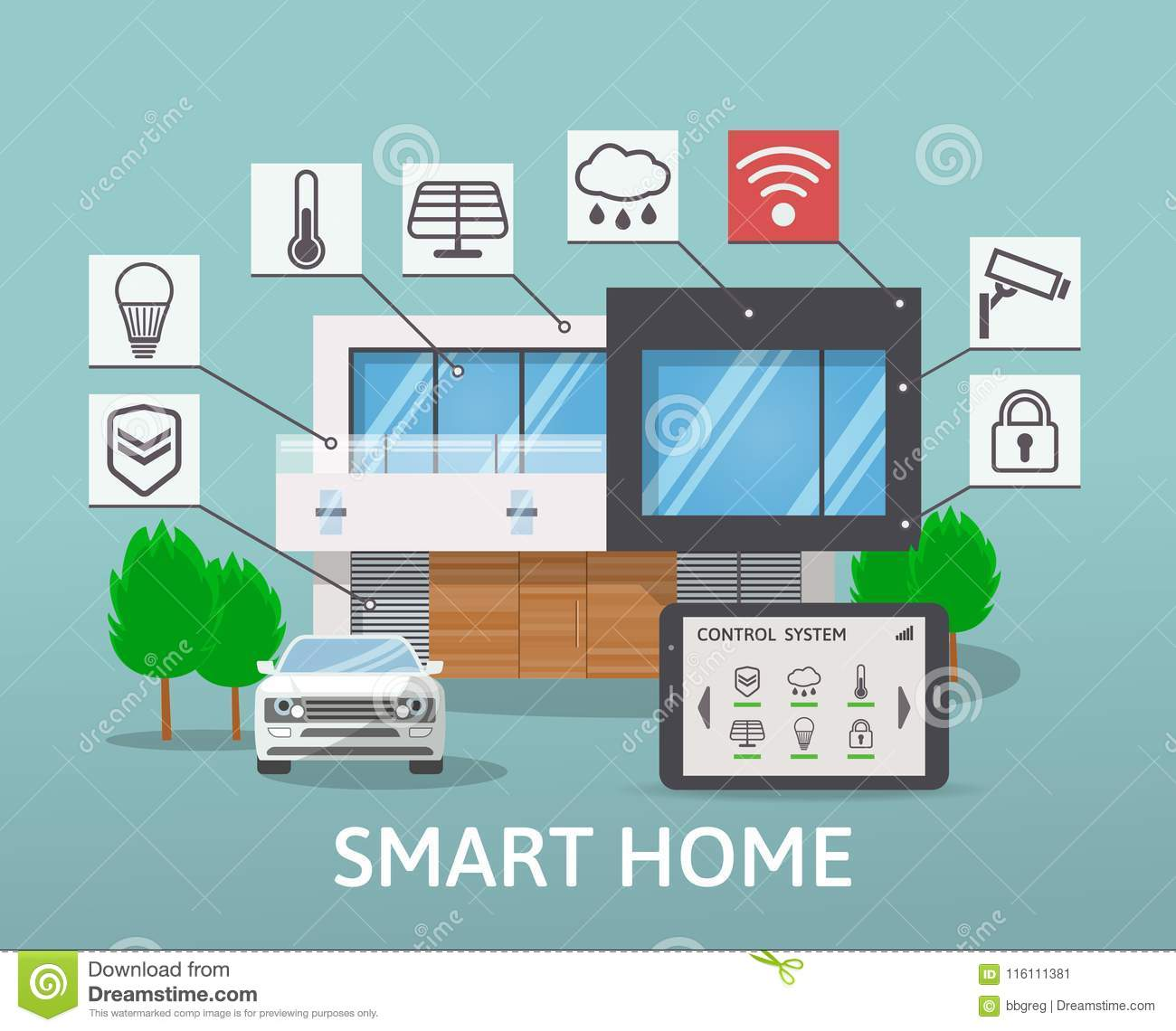 modern smart house with car infographic banner flat design style concept technology system. Black Bedroom Furniture Sets. Home Design Ideas