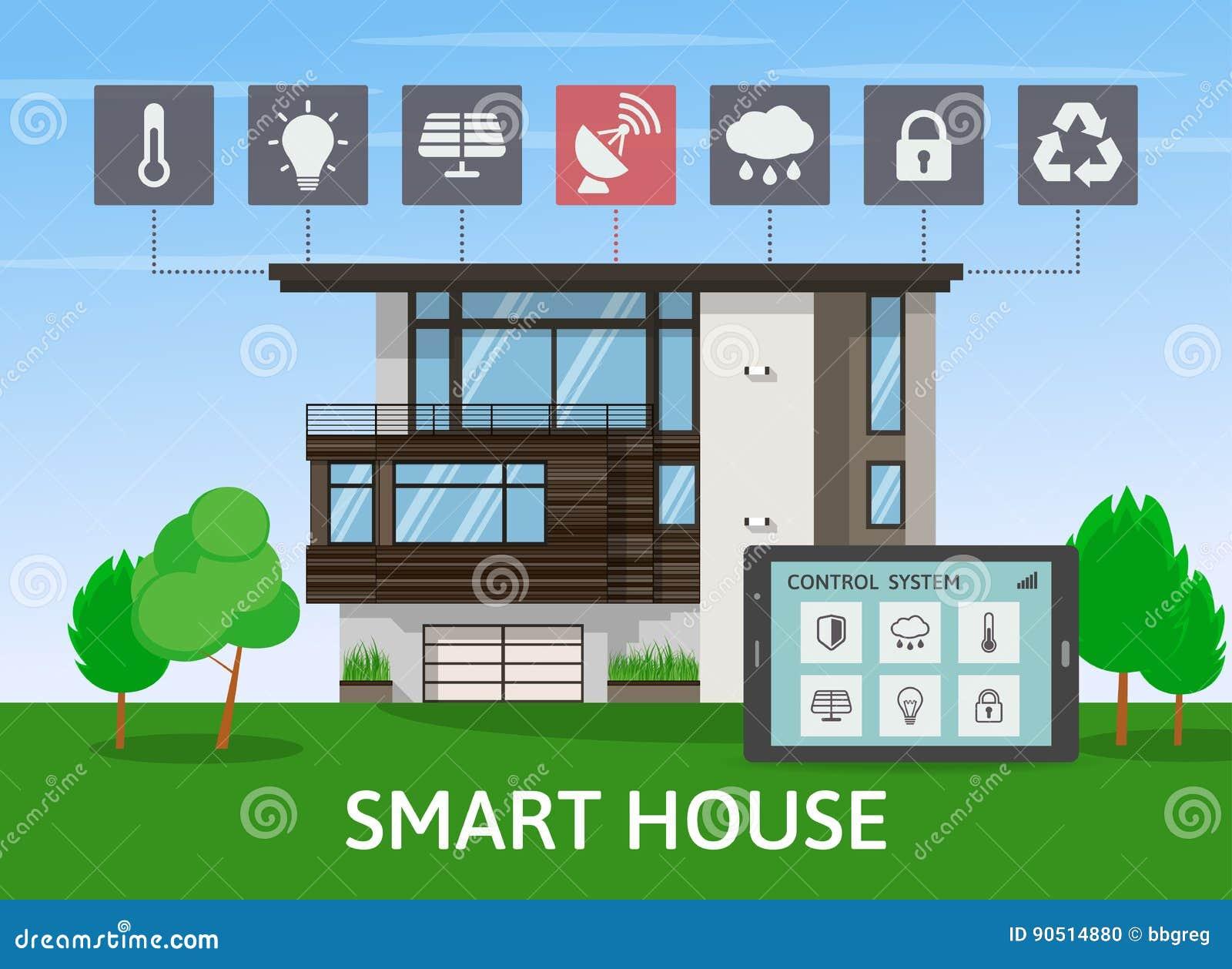 Solar cartoons illustrations vector stock images for Modern house technology