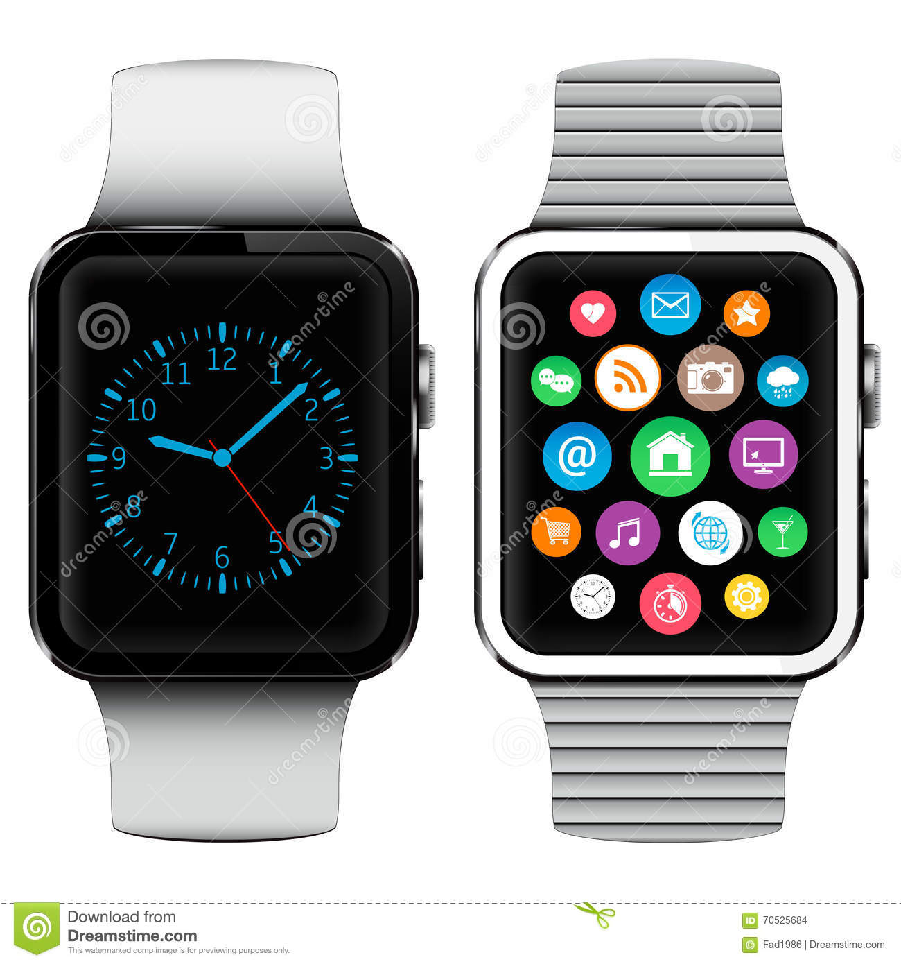 Modern smart watches with applications icons on screen - Relojes de pared grandes modernos ...