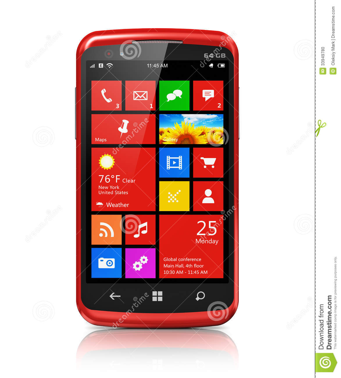 modern smartphone with touchscreen interface stock photo