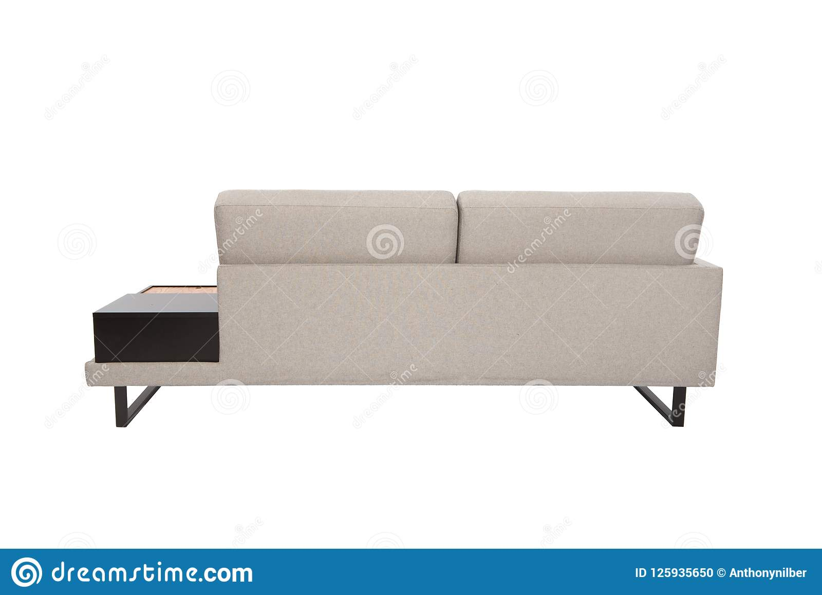 Modern Sofa grey fabric whit black and wood details isolated