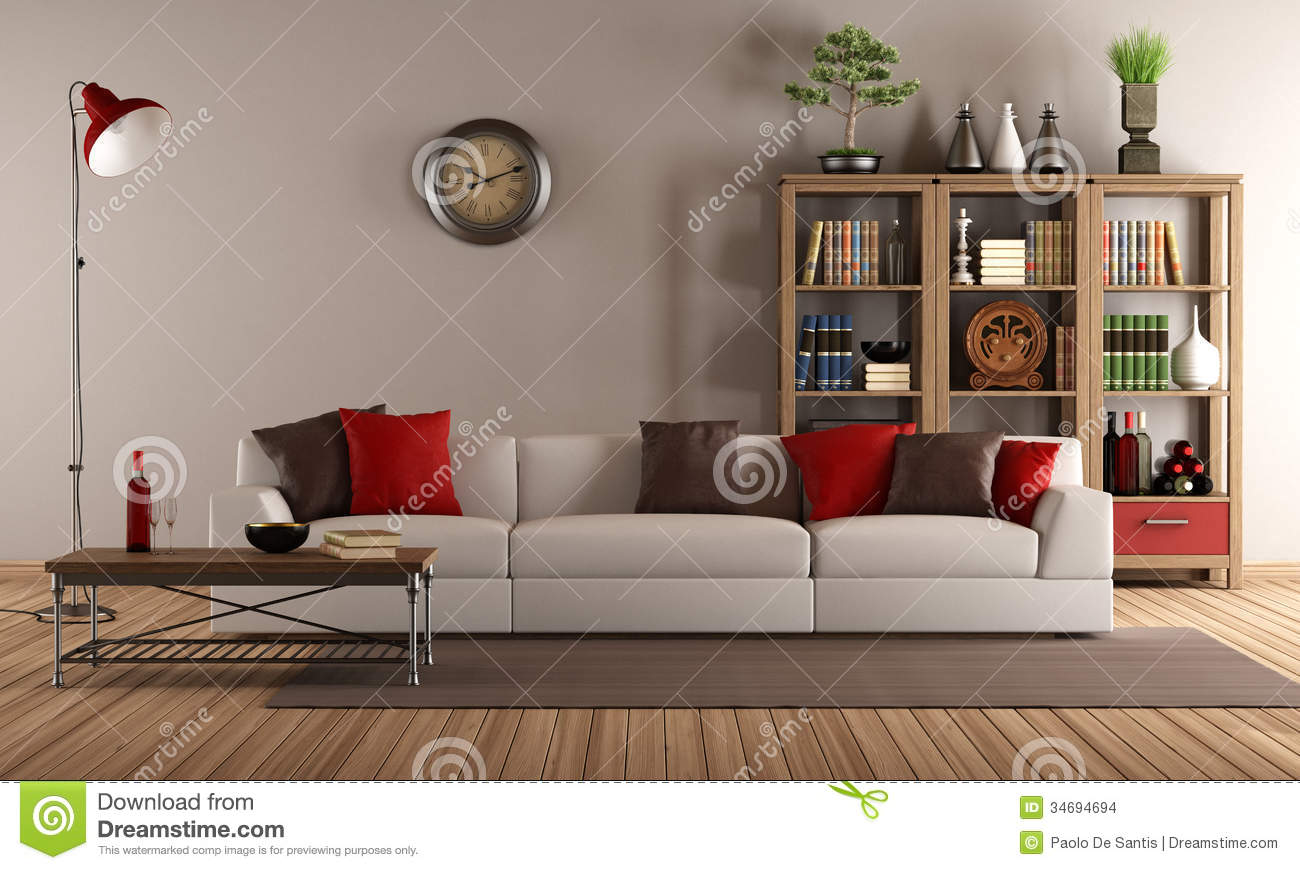 Modern Sofa In A Vintage Living Room Stock Images - Image: 34694694