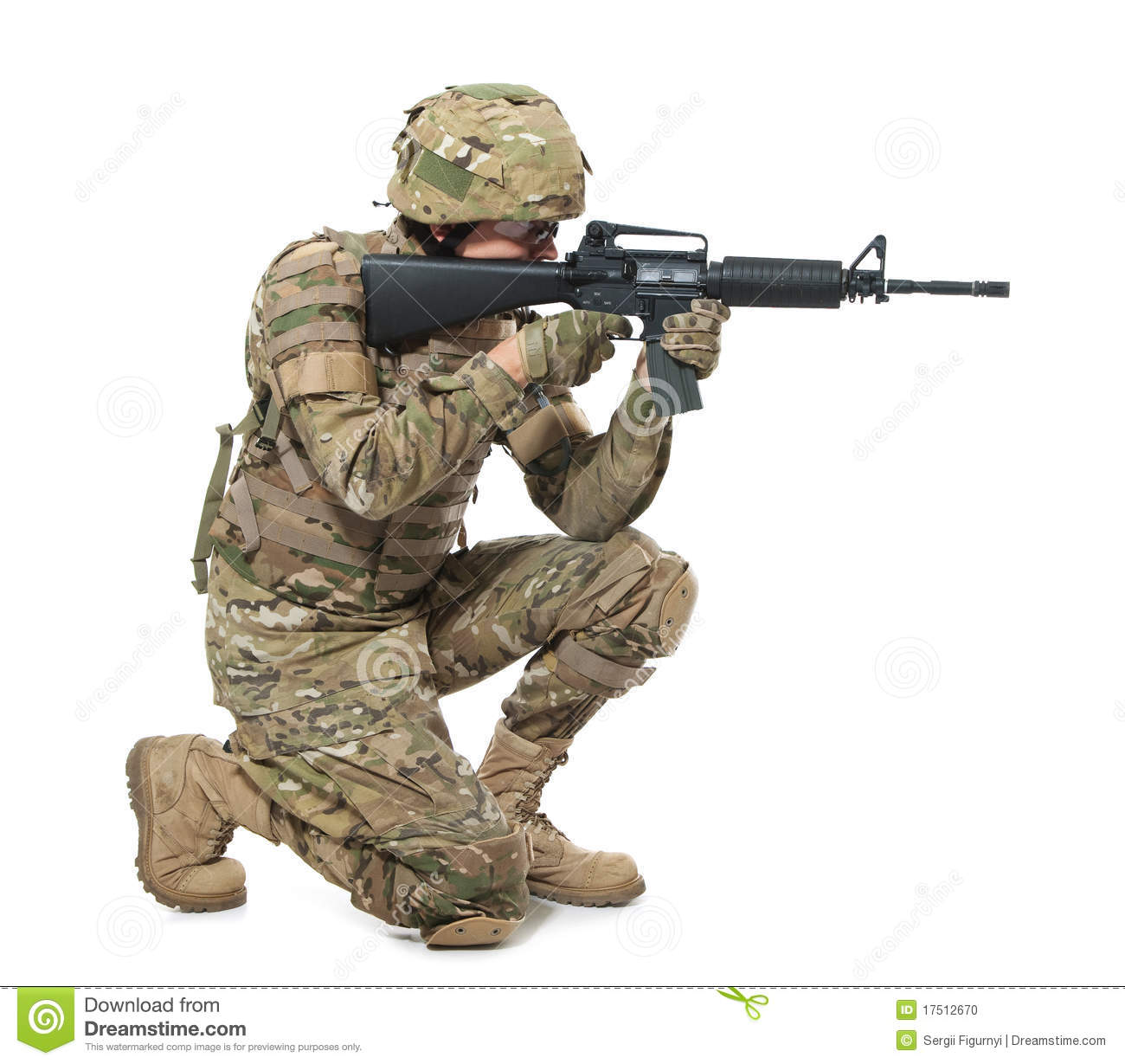 Modern Soldier With Rifle Stock Photo Image 17512670