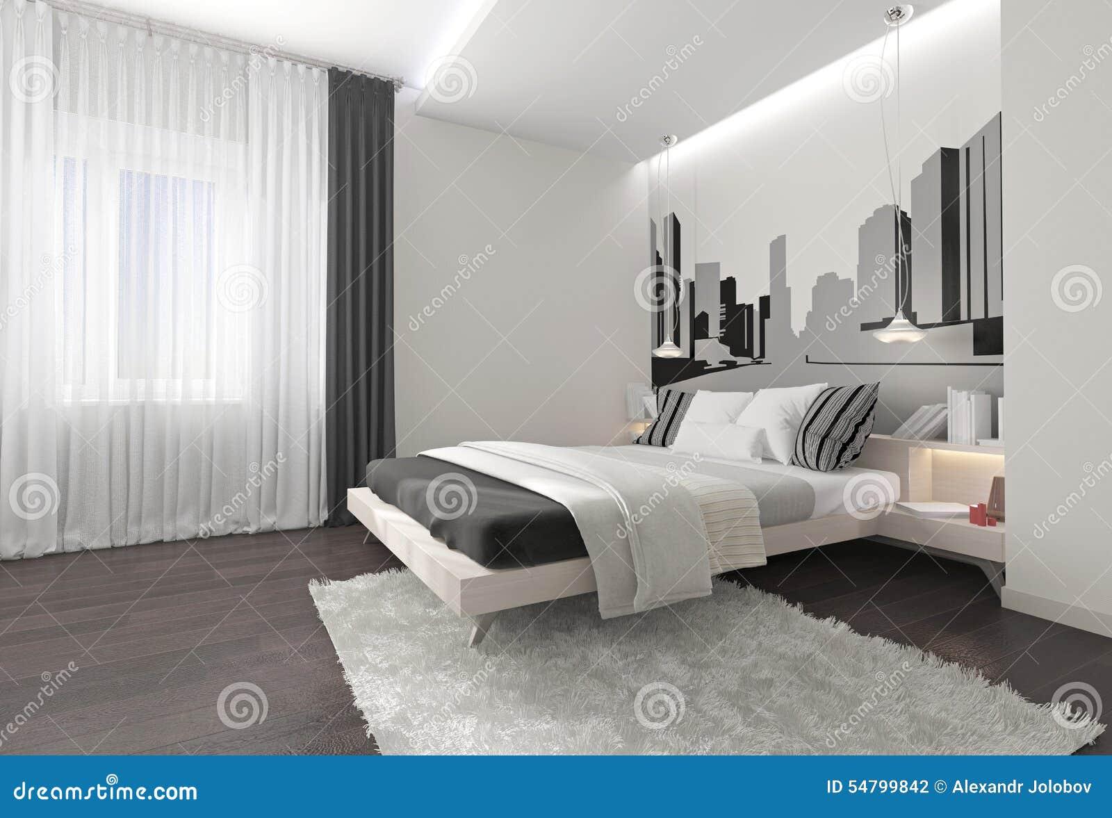 Modern sovruminre med mörka gardiner