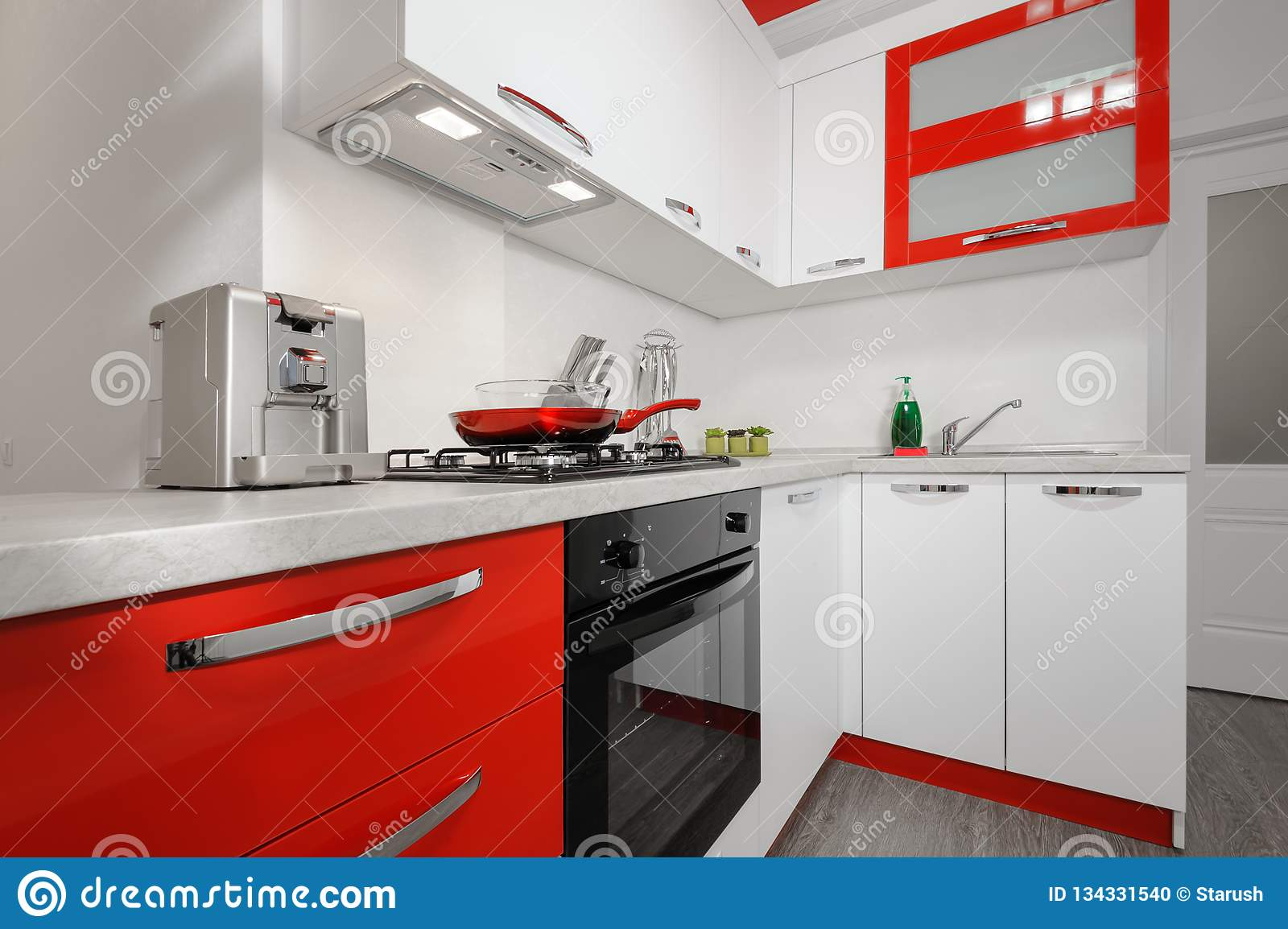 Modern Red And White Kitchen Interior Stock Photo   Image of ...