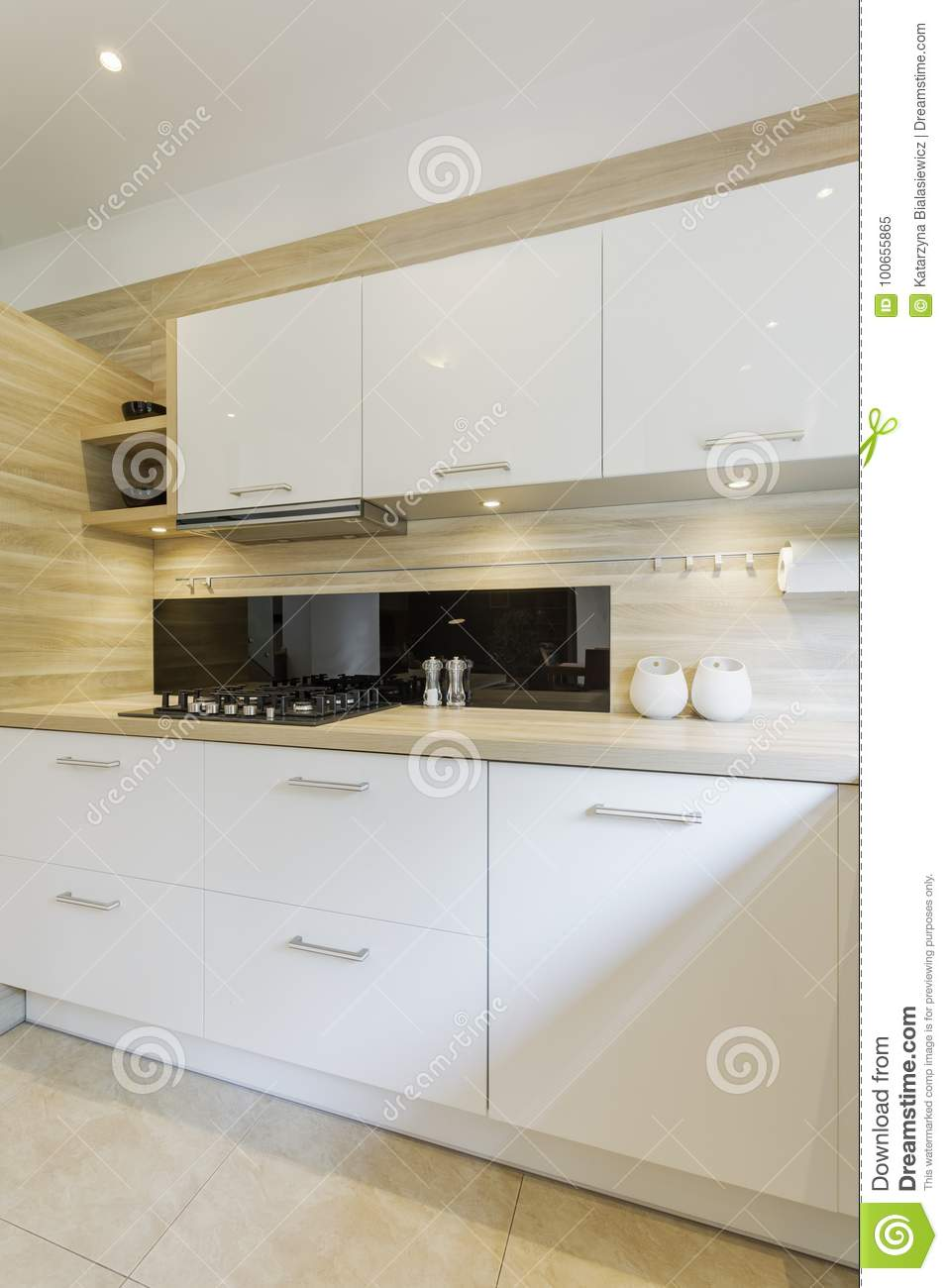 Spacious Kitchen With White Cabinets Stock Image Image Of Beige Interior 100655865