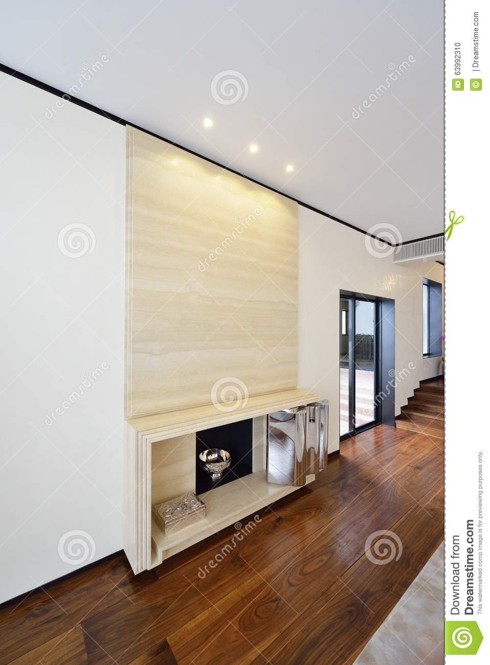 Modern Spacious Lounge Or Living Room Interior With Monochromatic Elegant  Furniture And Large Bright Windows