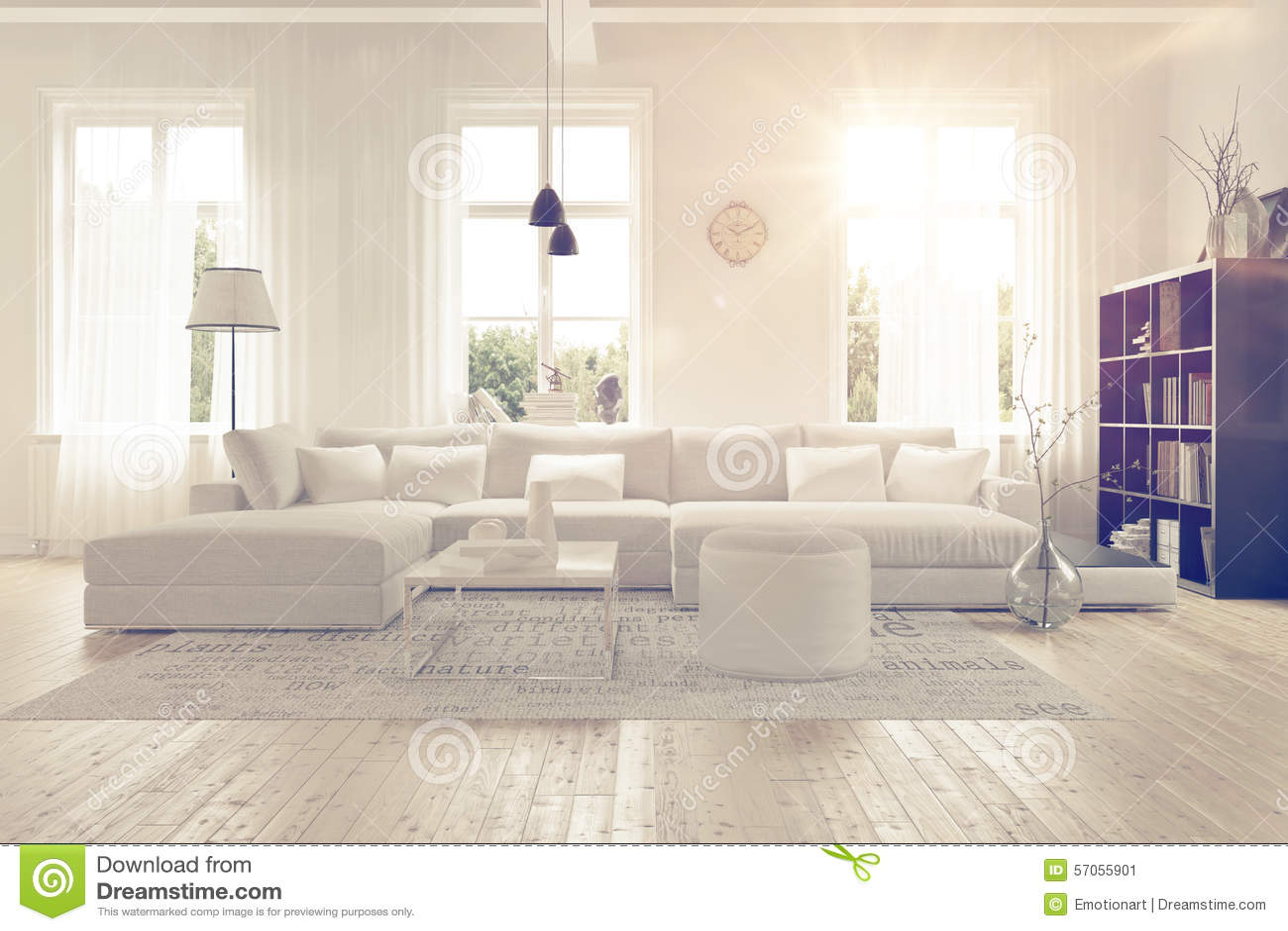 modern spacious white lounge interior stock illustration image 57055901. Black Bedroom Furniture Sets. Home Design Ideas