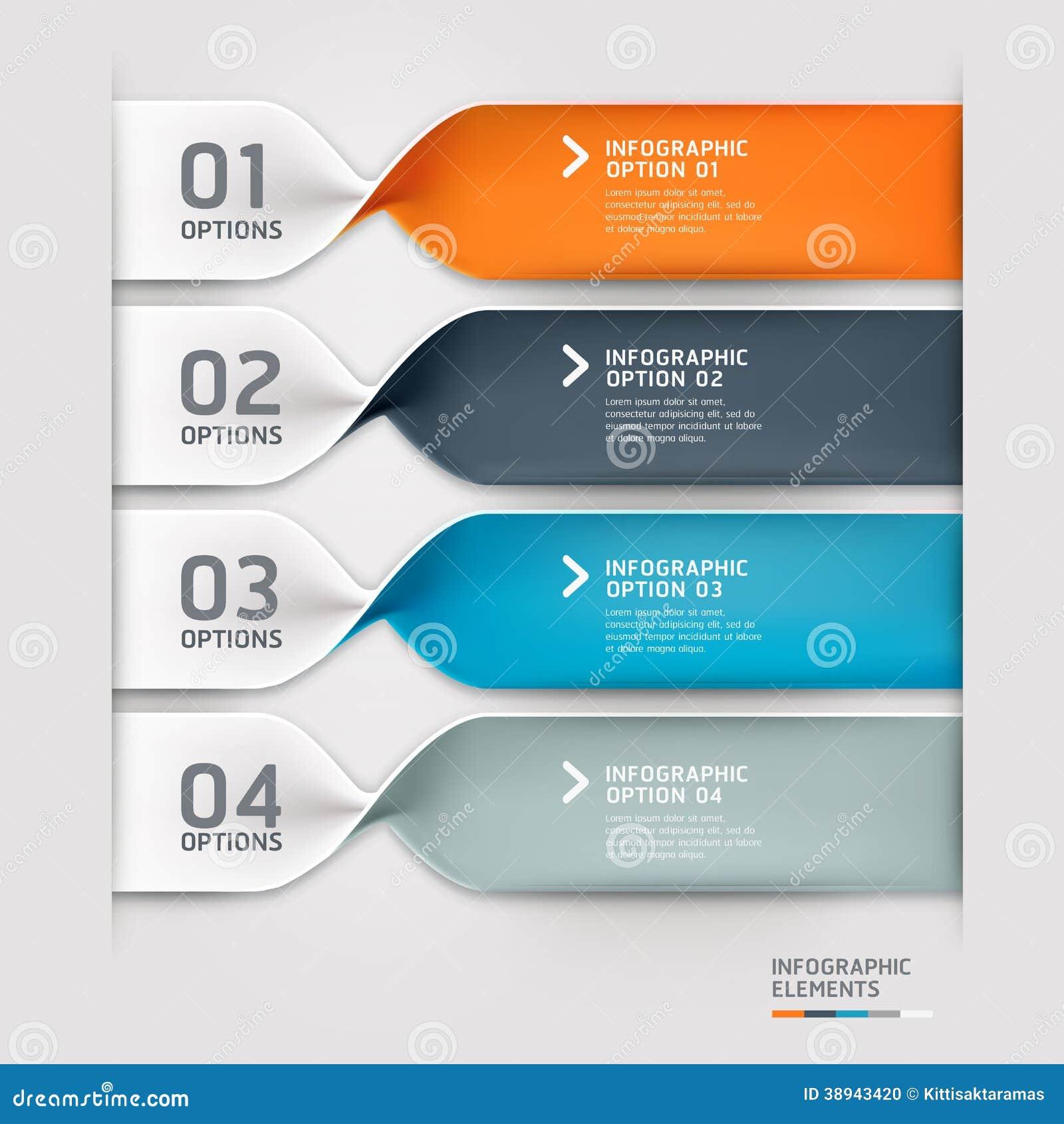 Vector Illustration Web Designs: Modern Spiral Infographics Options Banner. Stock Vector