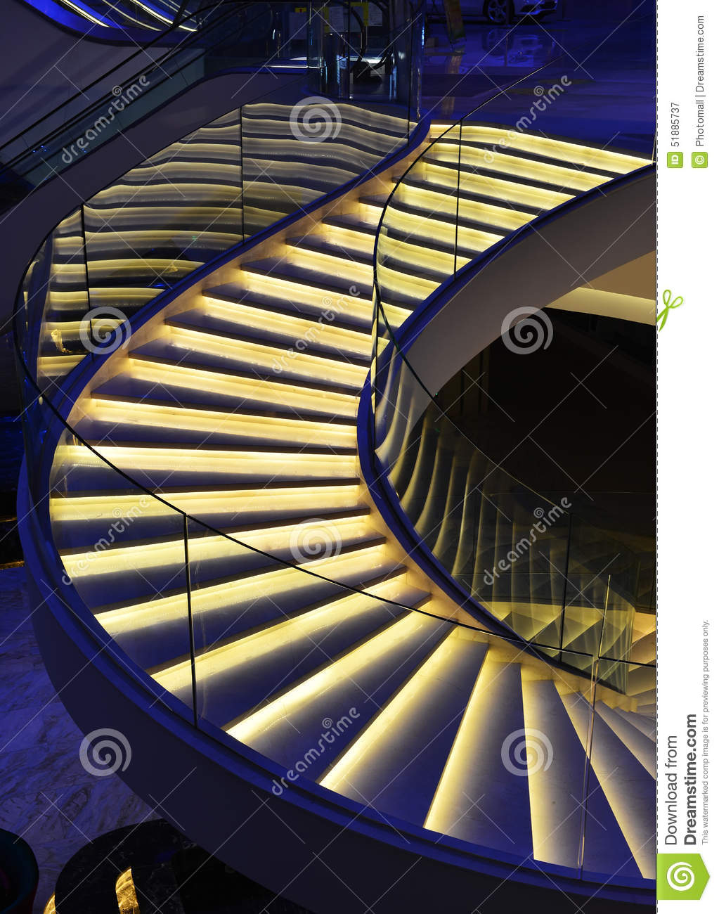 Lighting Basement Washroom Stairs: Modern Spiral Stairs Decorated With Led Light Stock Photo