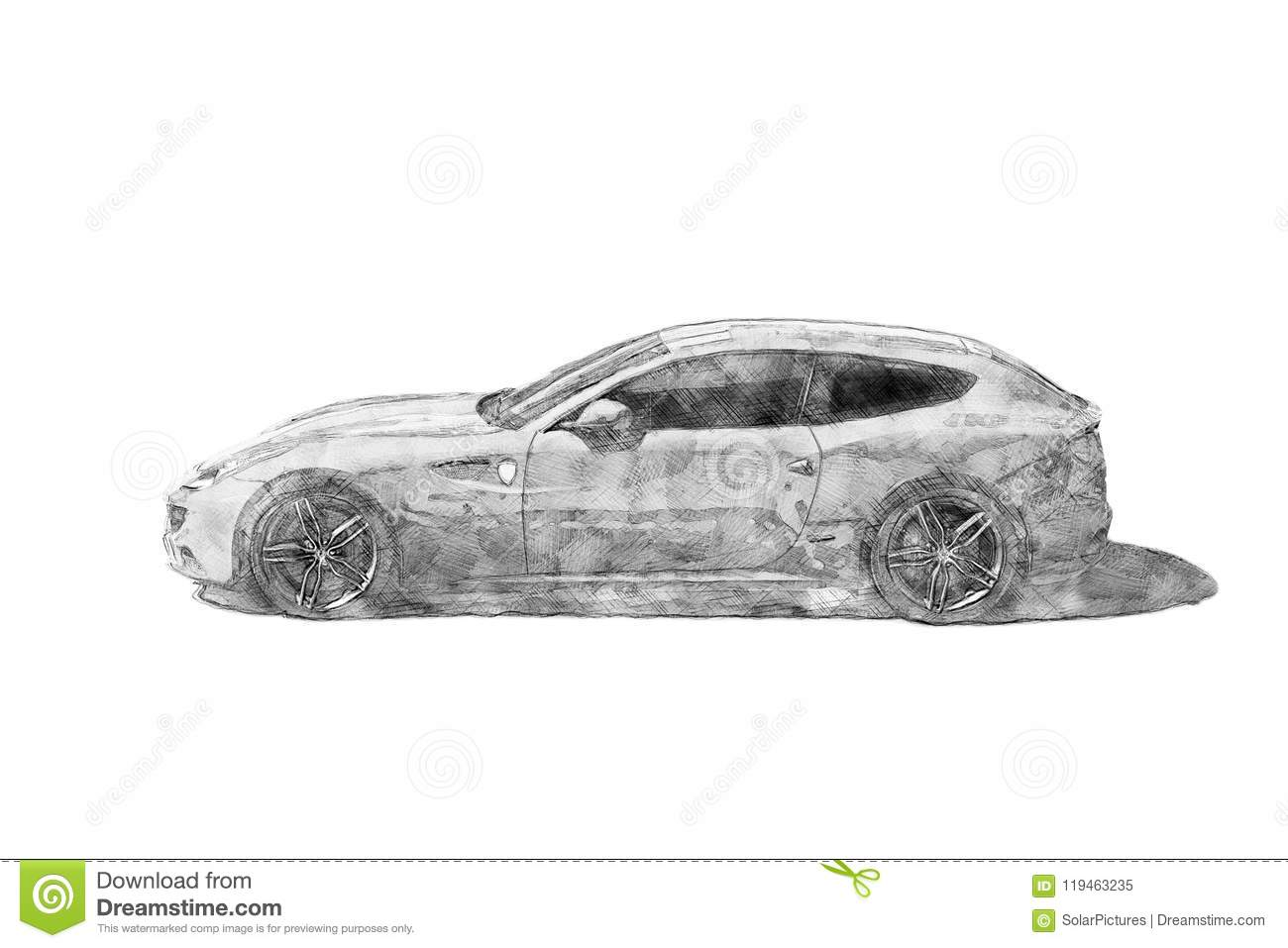 A pencil sketch drawing illustration of a modern sports car isolated side view