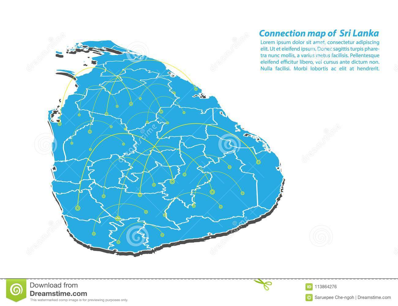 Modern of Sri Lanka Map connections network design, Best Internet Concept of Sri Lanka map business from concepts series