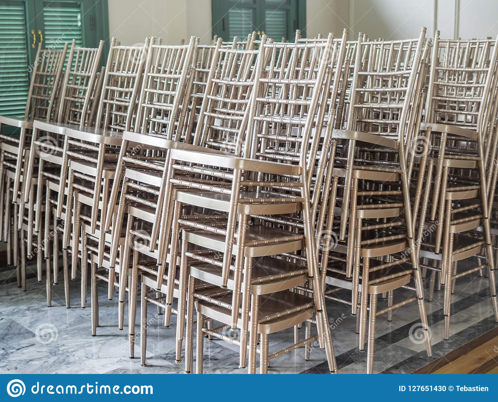 Groovy Modern Stacked Silver Chairs Stock Photo Image Of Outside Machost Co Dining Chair Design Ideas Machostcouk