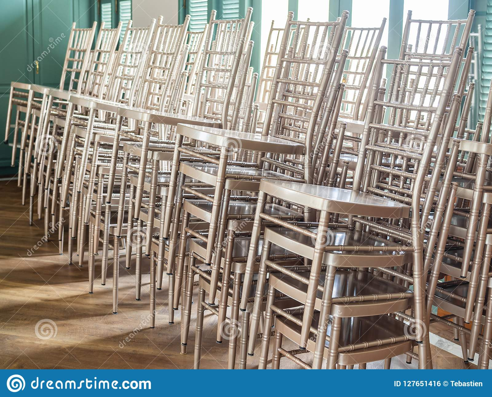 Wondrous Modern Stacked Silver Chairs Stock Photo Image Of Detail Machost Co Dining Chair Design Ideas Machostcouk