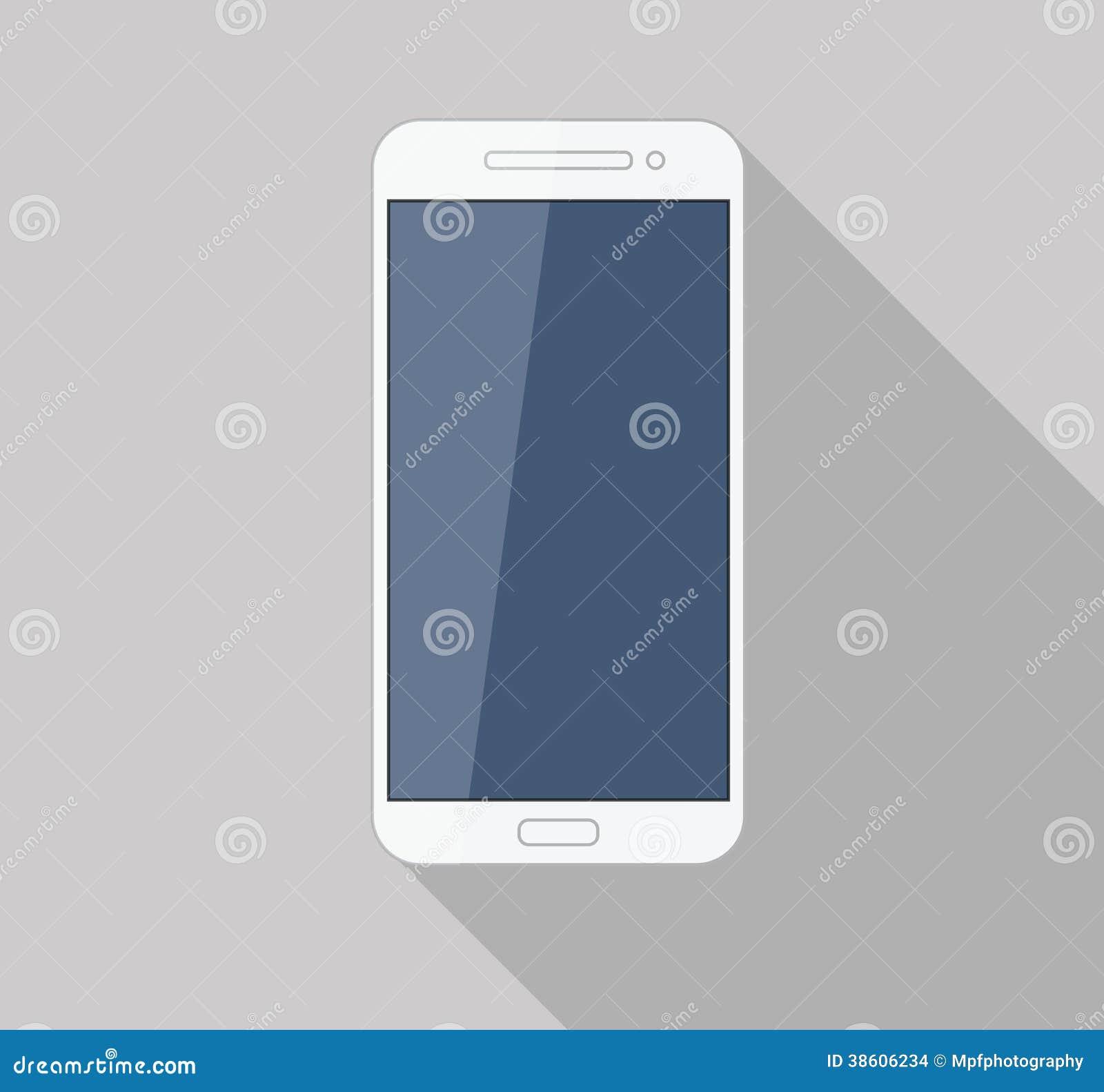 Modern stilfull lång skugga för plan vit mobiltelefon