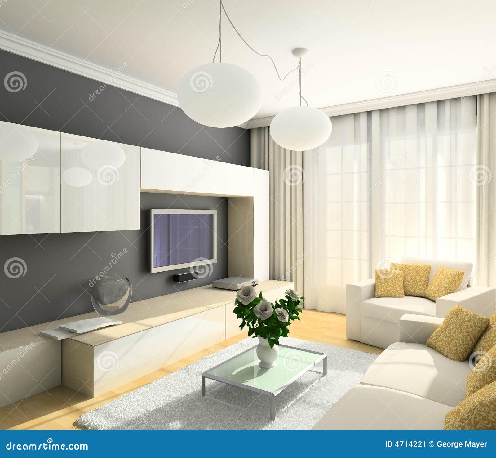 Modern strömförande för interior 3d framför lokal